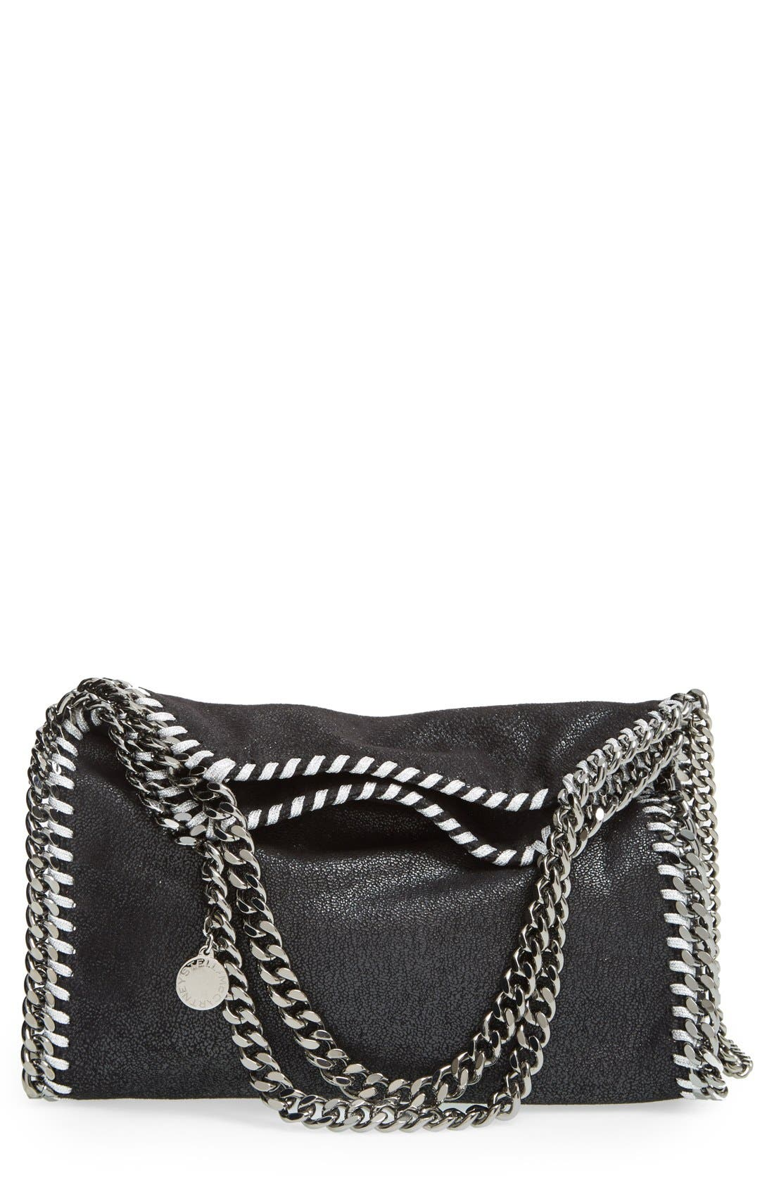 'Mini Falabella - Shaggy Deer' Faux Leather Tote,                         Main,                         color, BLACK W/ SILVER