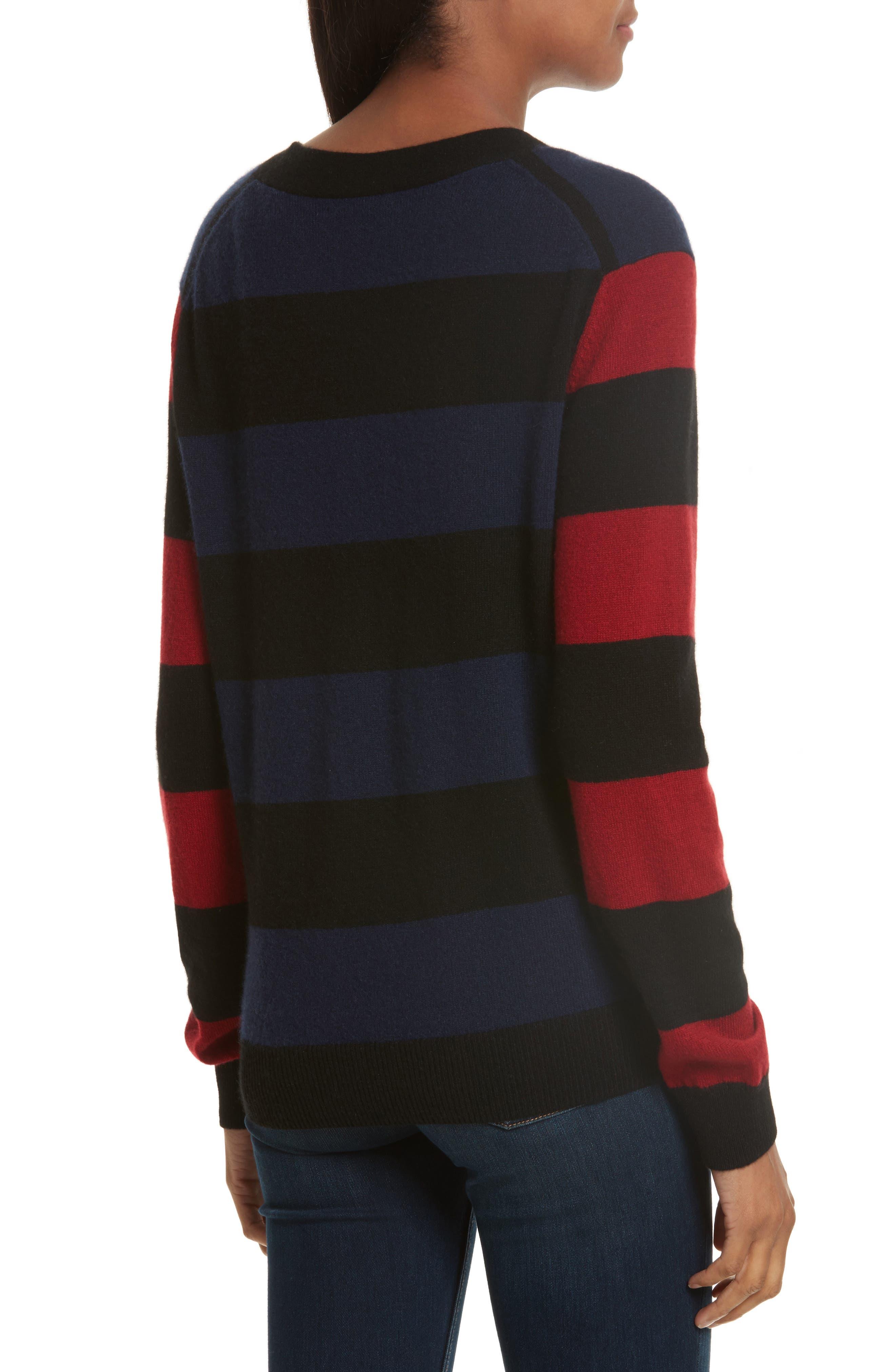 Shelly Stripe Cashmere Cardigan,                             Alternate thumbnail 2, color,                             001
