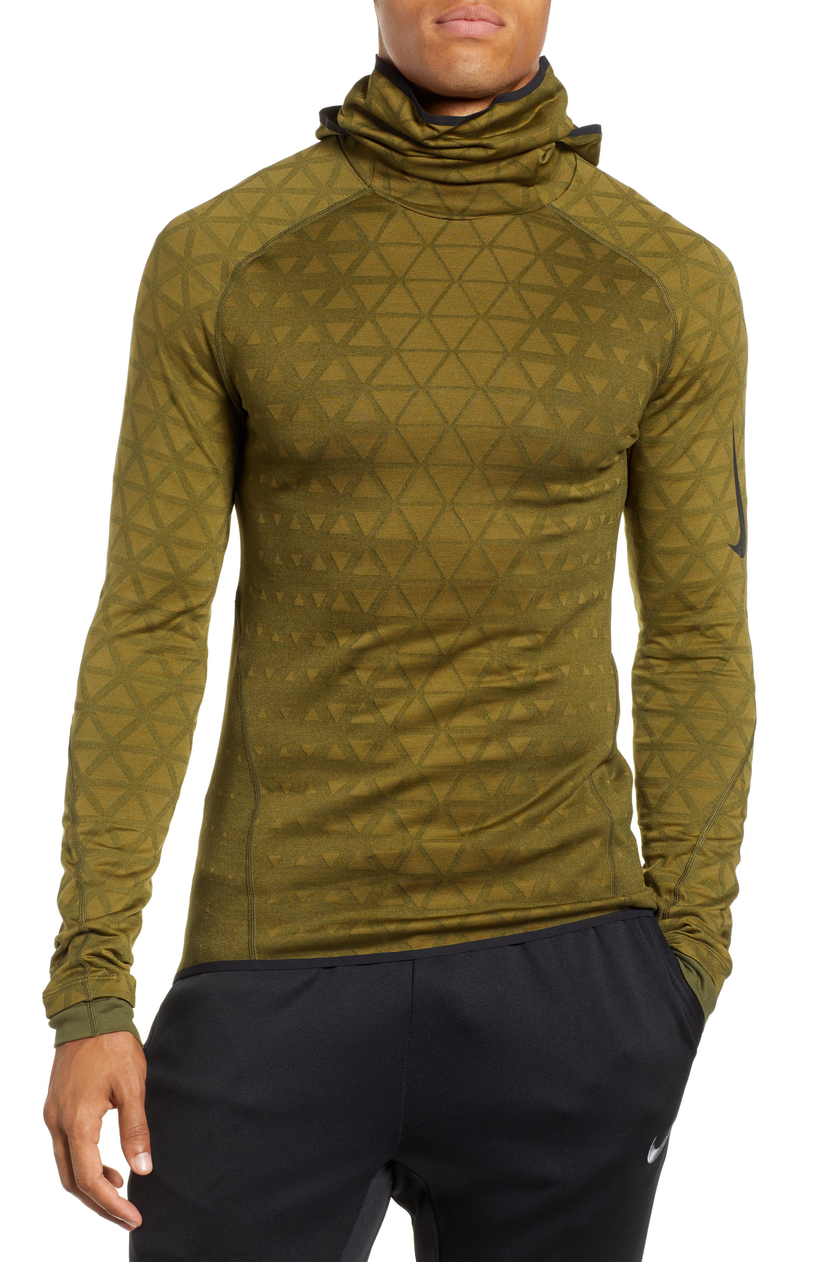 Therma Sphere Hooded Training Top,                         Main,                         color, OLIVE/ OLIVE FLAK/ BLACK