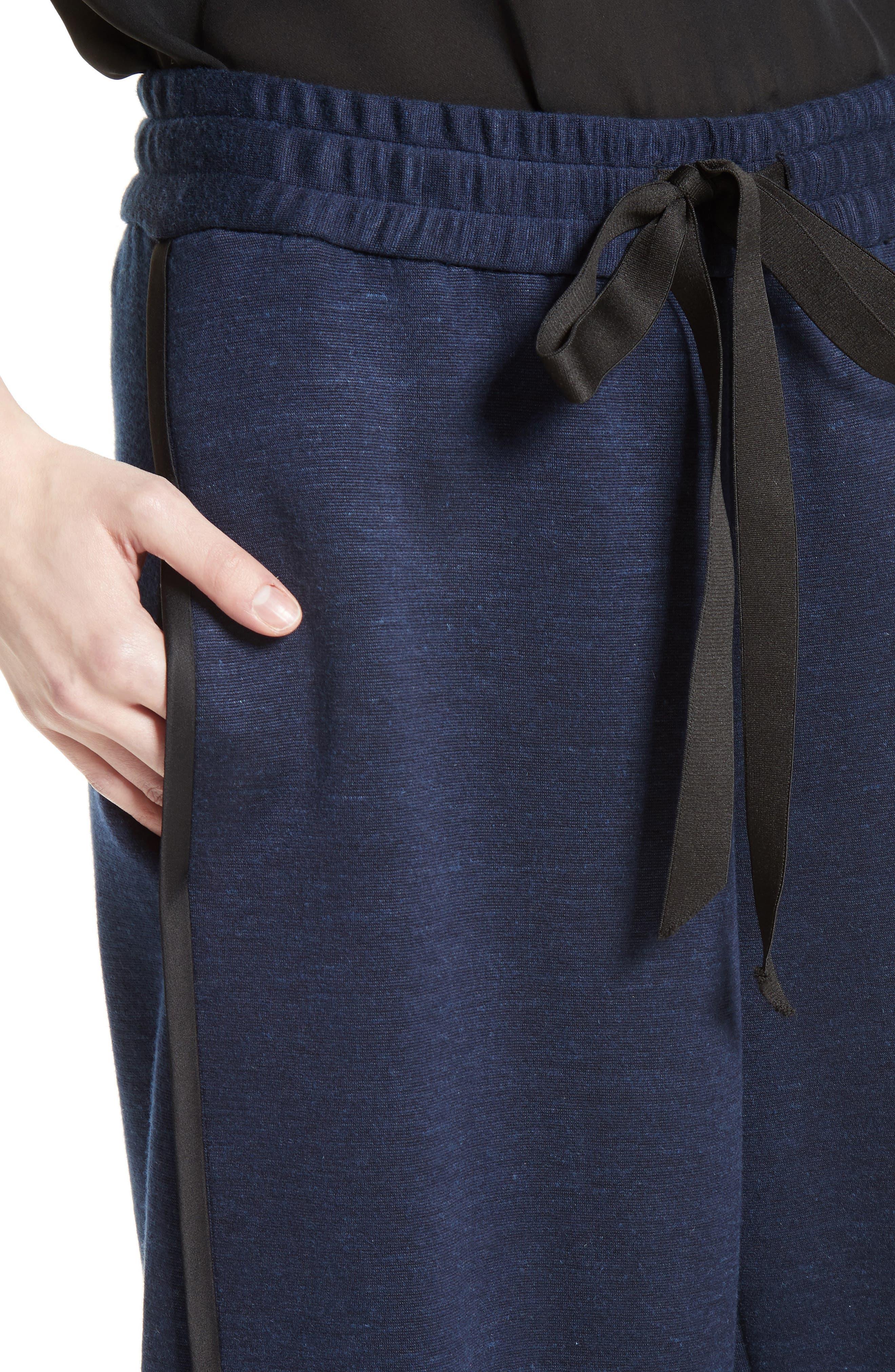 Jersey Wide Leg Drawstring Pants,                             Alternate thumbnail 4, color,                             413