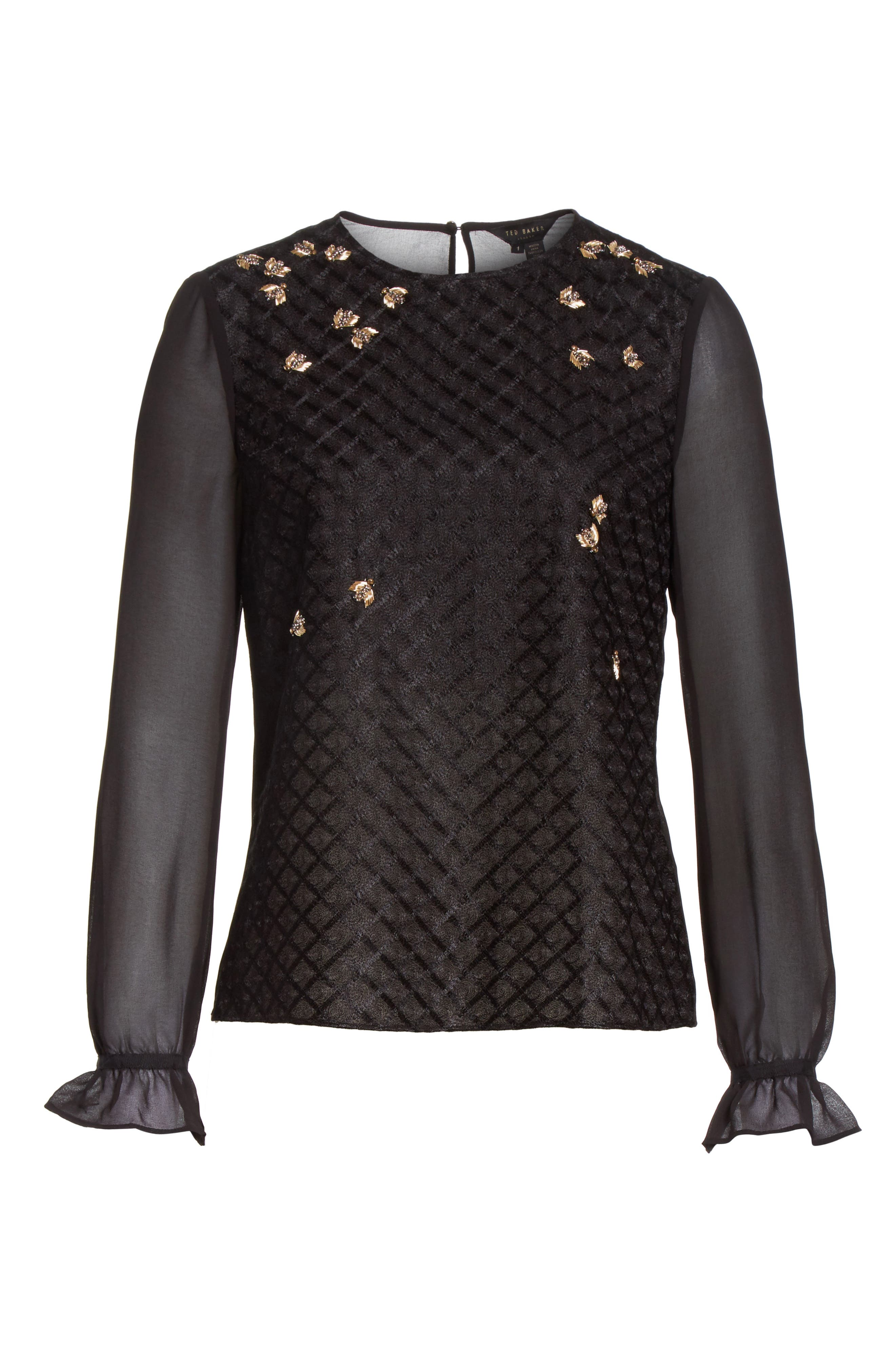 Queen Bee Embellished Top,                             Alternate thumbnail 6, color,                             001
