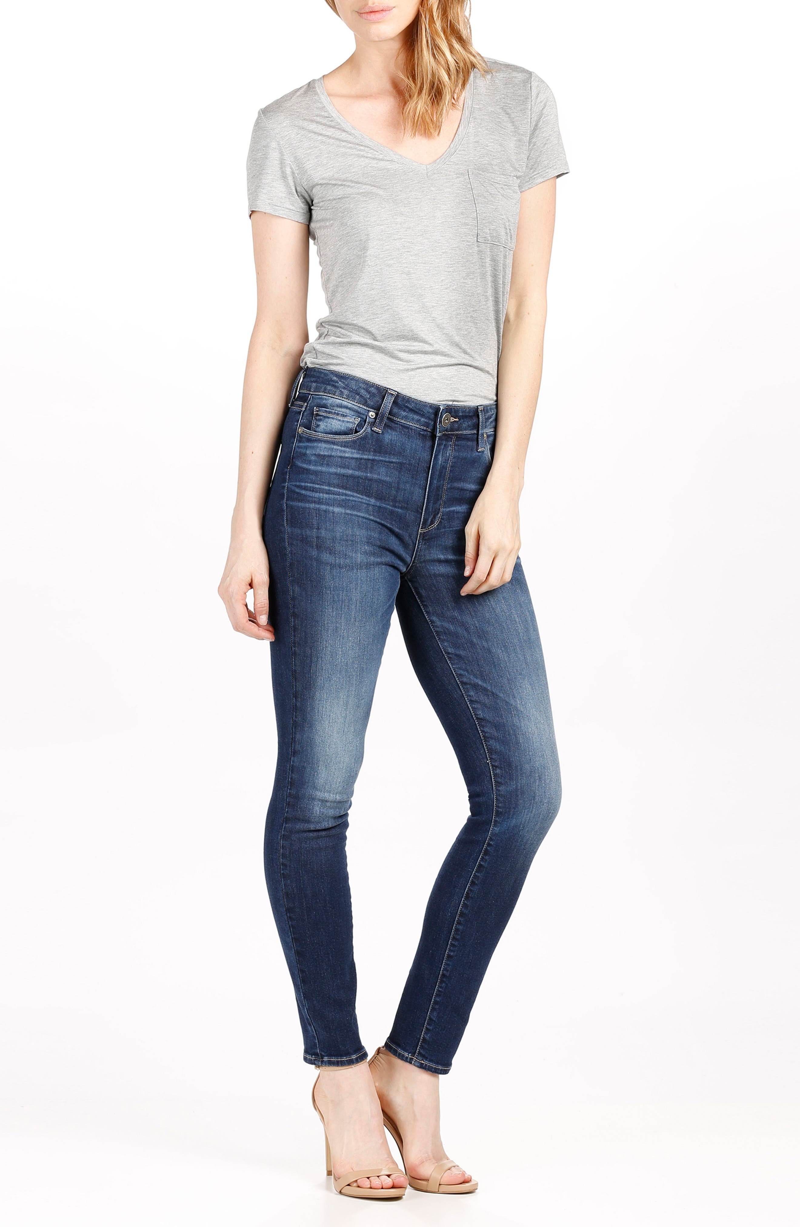 Hoxton High Waist Ankle Skinny Jeans,                             Alternate thumbnail 3, color,                             400