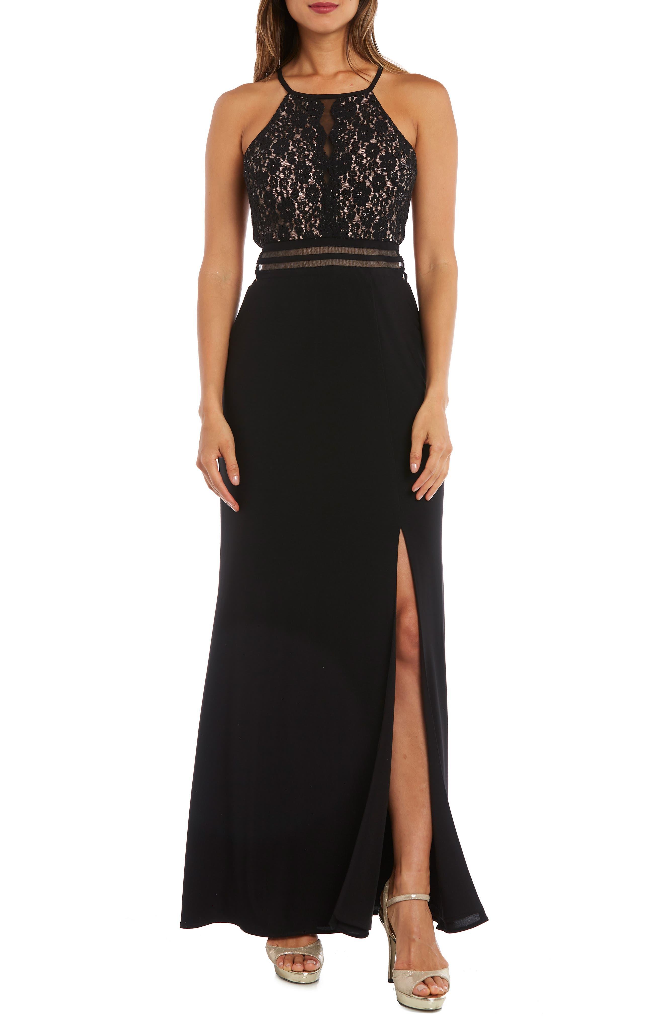 MORGAN & CO. Strappy Lace Bodice Gown, Main, color, BLACK/ NUDE