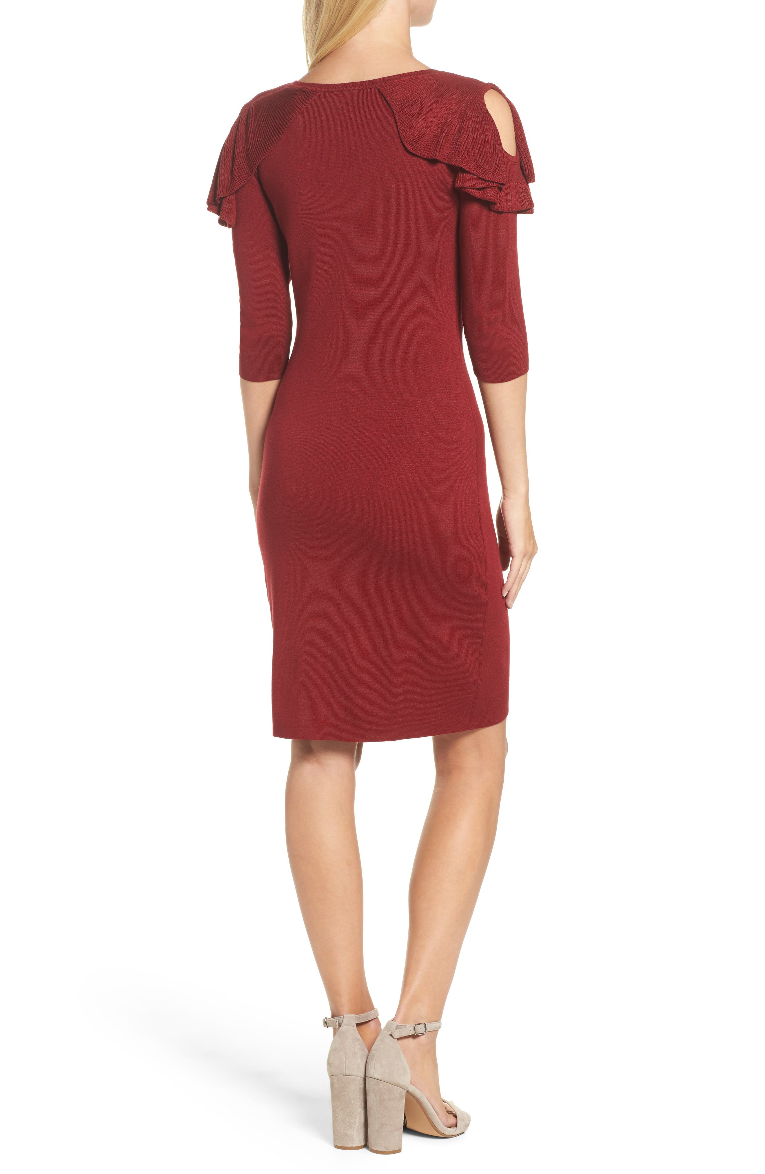 Ruffle Cold Shoulder Sweater Dress,                             Alternate thumbnail 2, color,                             644