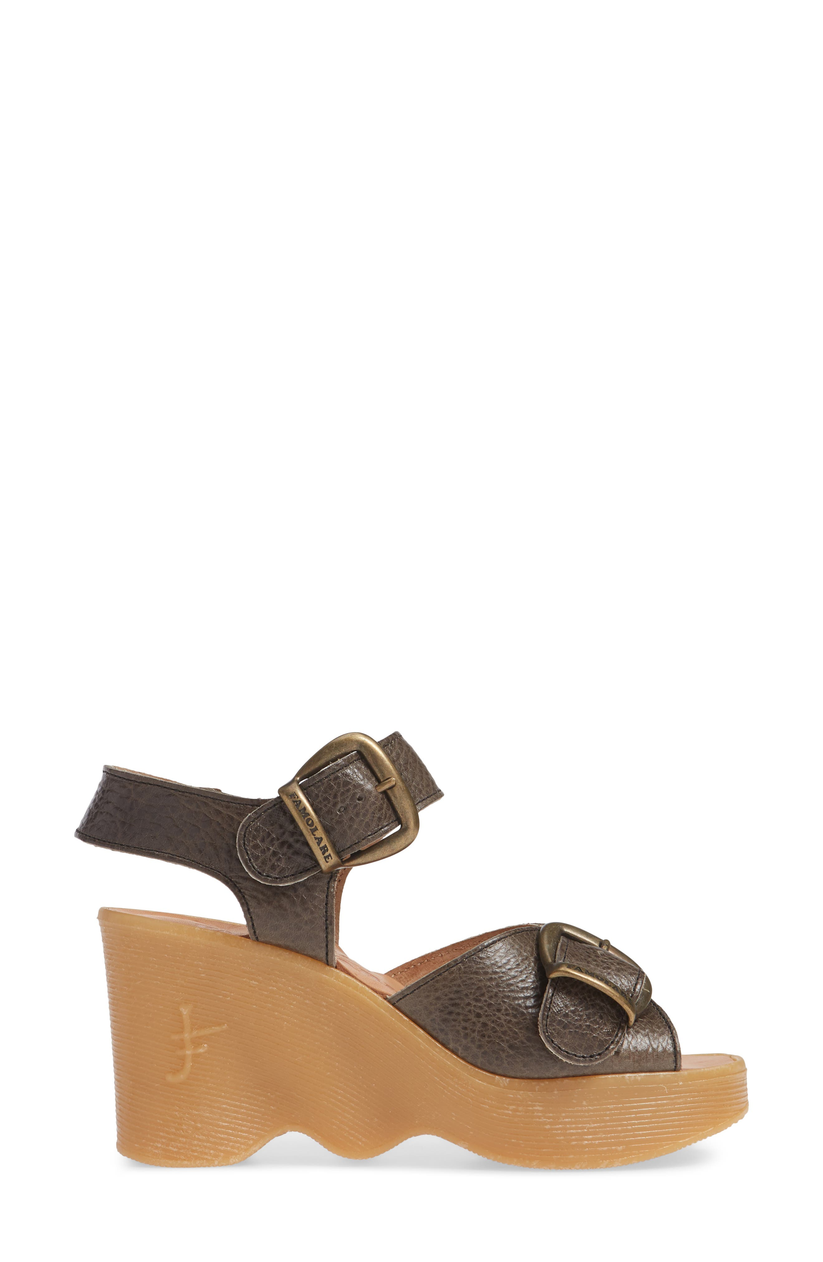 Double Vision Wedge Sandal,                             Alternate thumbnail 3, color,                             STEEL LEATHER