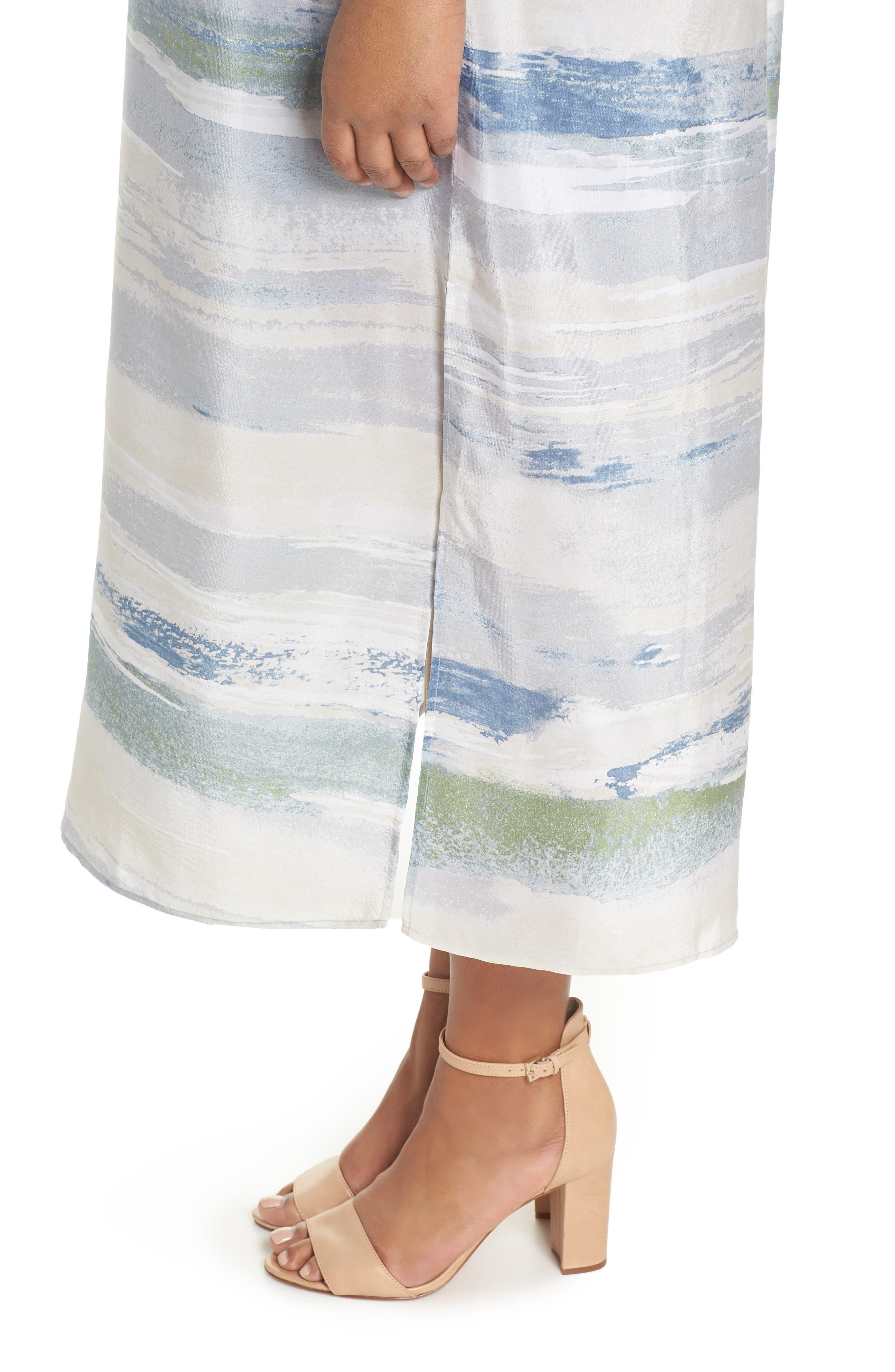 Watercolor Silk Blend Sleeveless Dress,                             Alternate thumbnail 4, color,