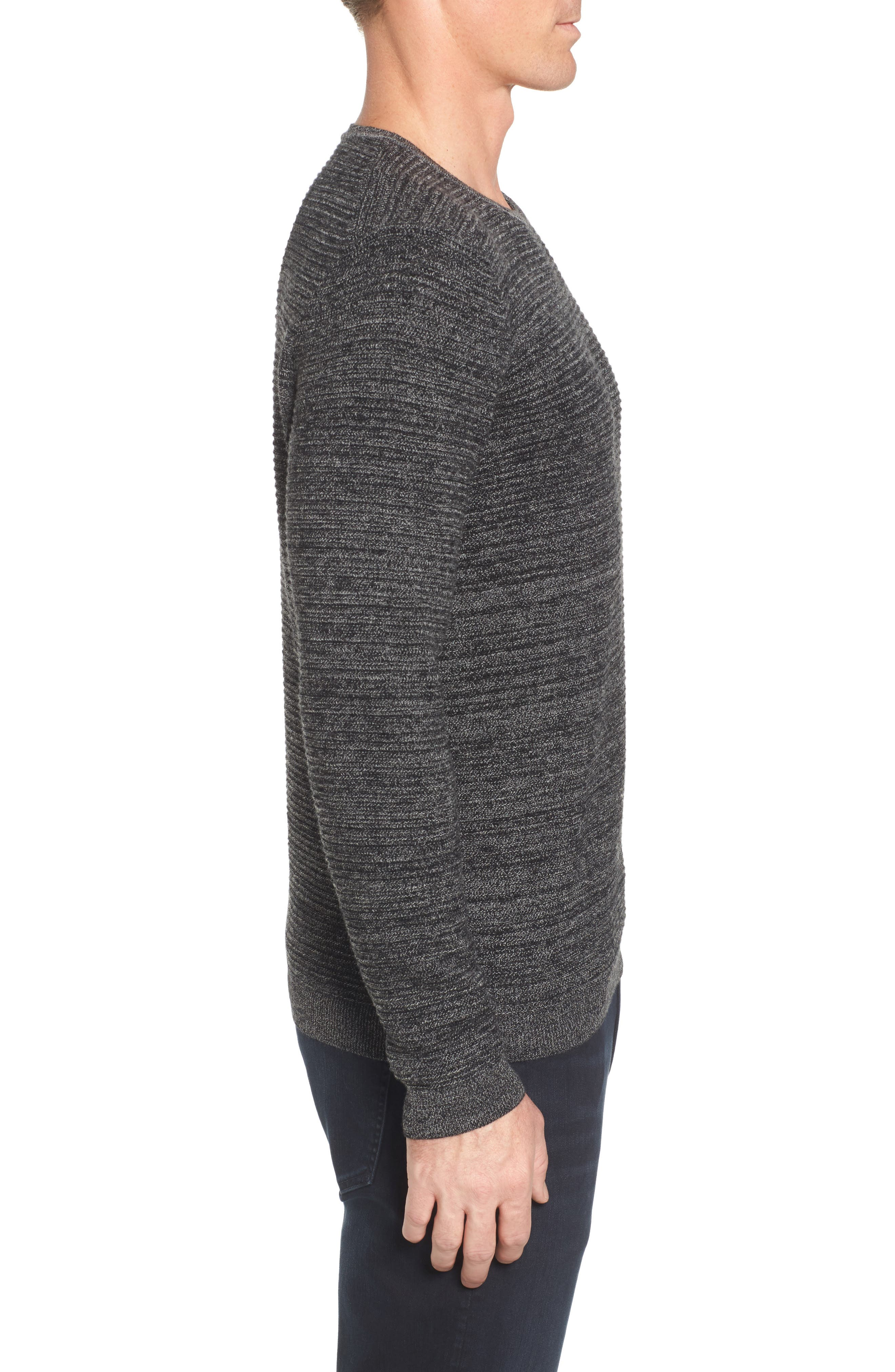 Ottoman Wool Blend Sweater,                             Alternate thumbnail 3, color,                             001