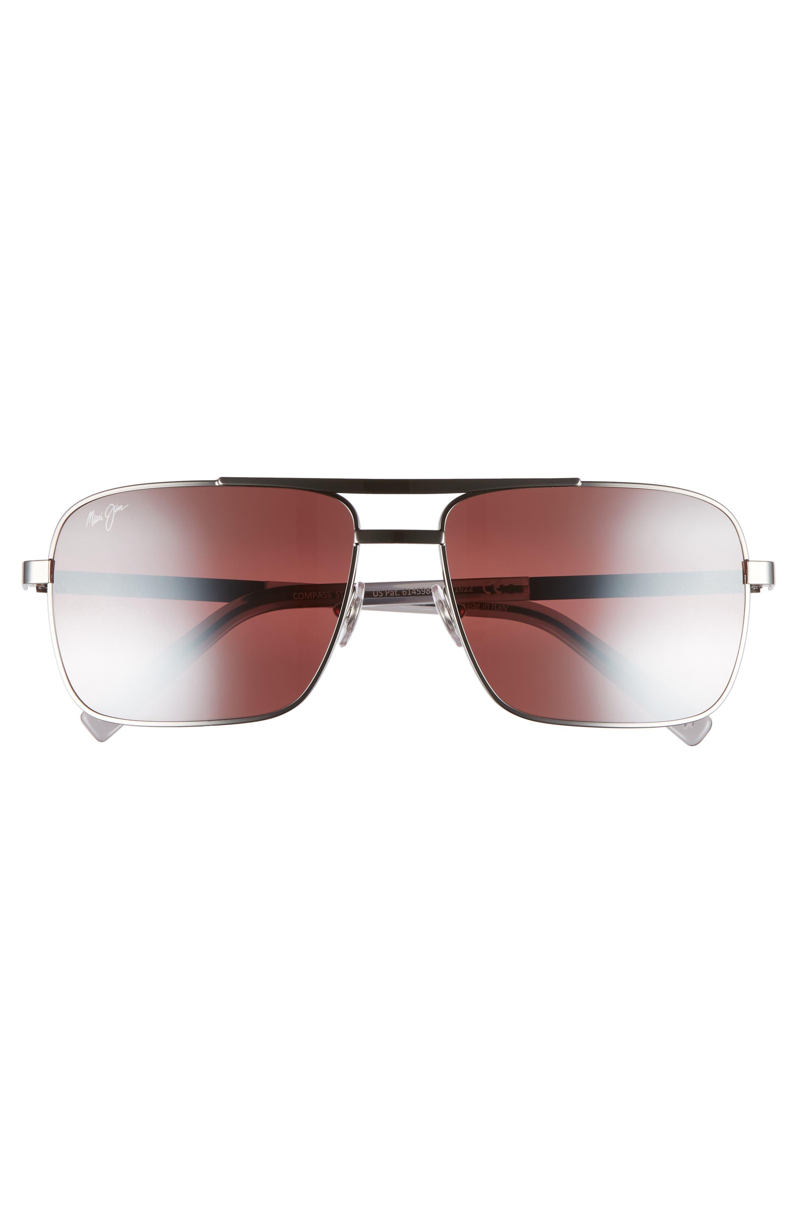 Compass 60mm Polarized Aviator Sunglasses,                             Alternate thumbnail 2, color,                             GUNMETAL/ MAUI ROSE