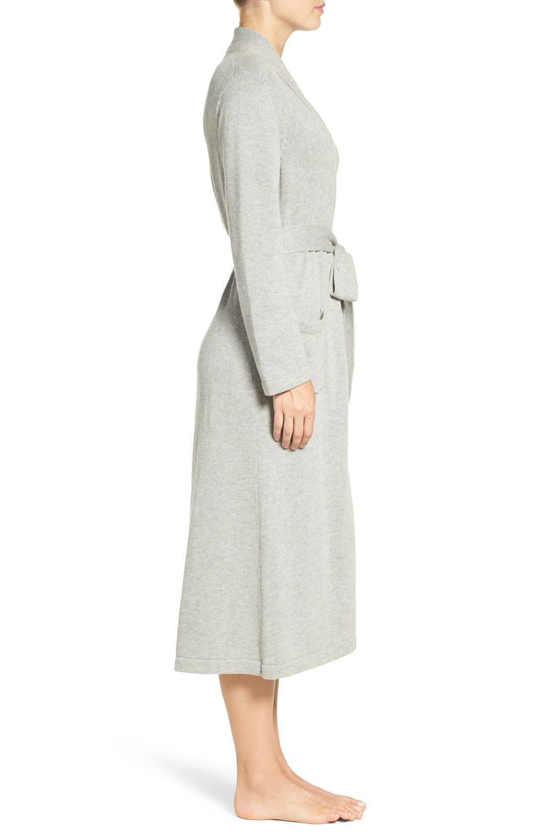 'Ballet' Knit Cotton Blend Robe,                             Alternate thumbnail 4, color,