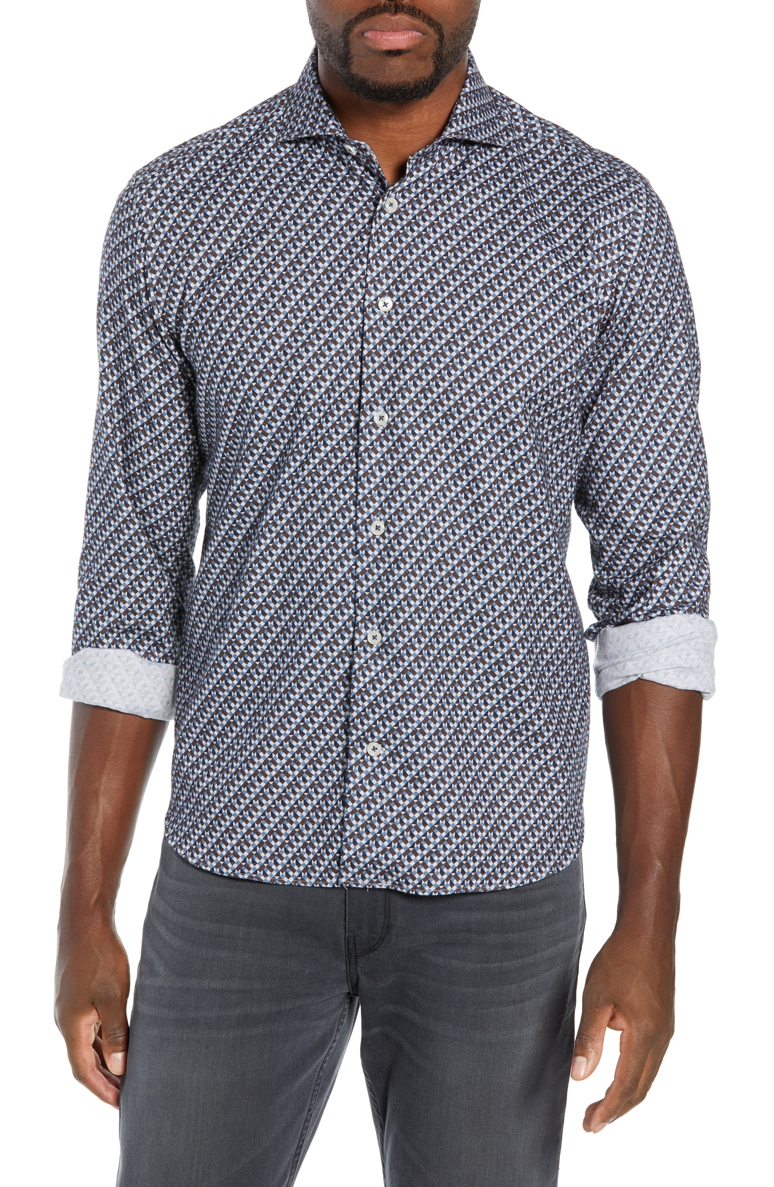 CULTURATA Cozy Tailored Fit Flannel Sport Shirt in Blue