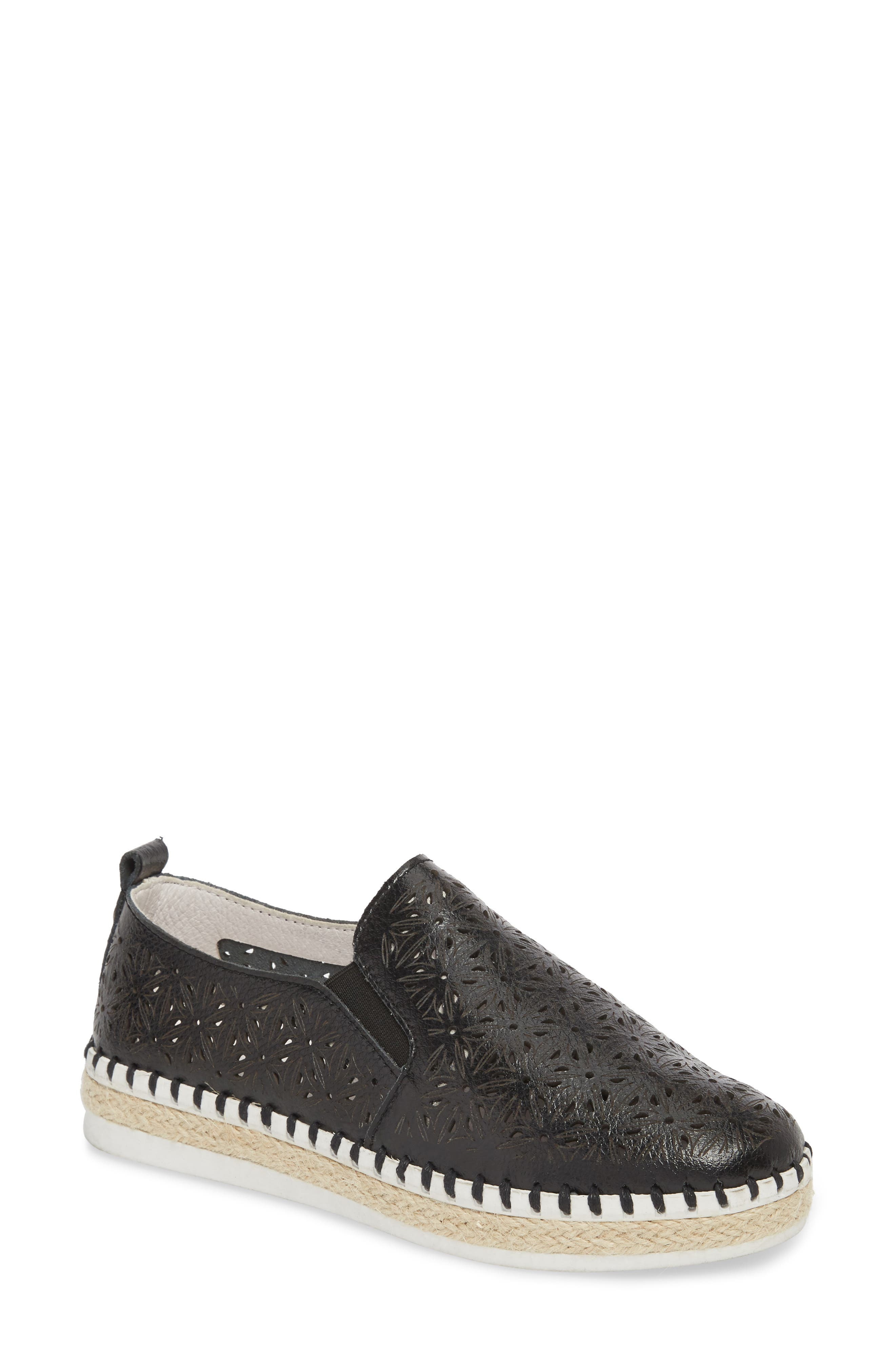 TW101 Espadrille Flat,                             Main thumbnail 1, color,                             BLACK LEATHER