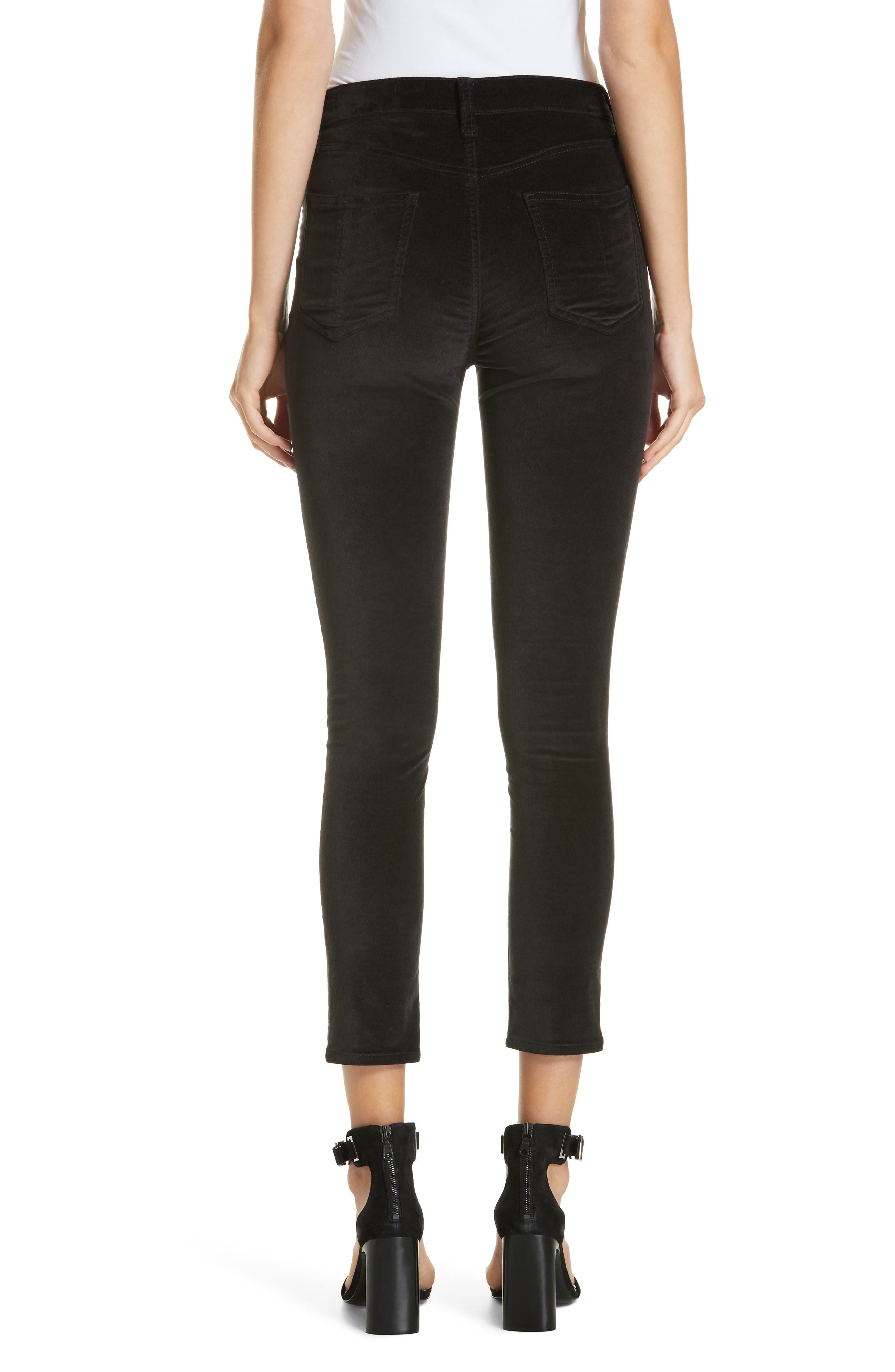 High Waist Velvet Skinny Pants,                             Alternate thumbnail 2, color,                             BLACK