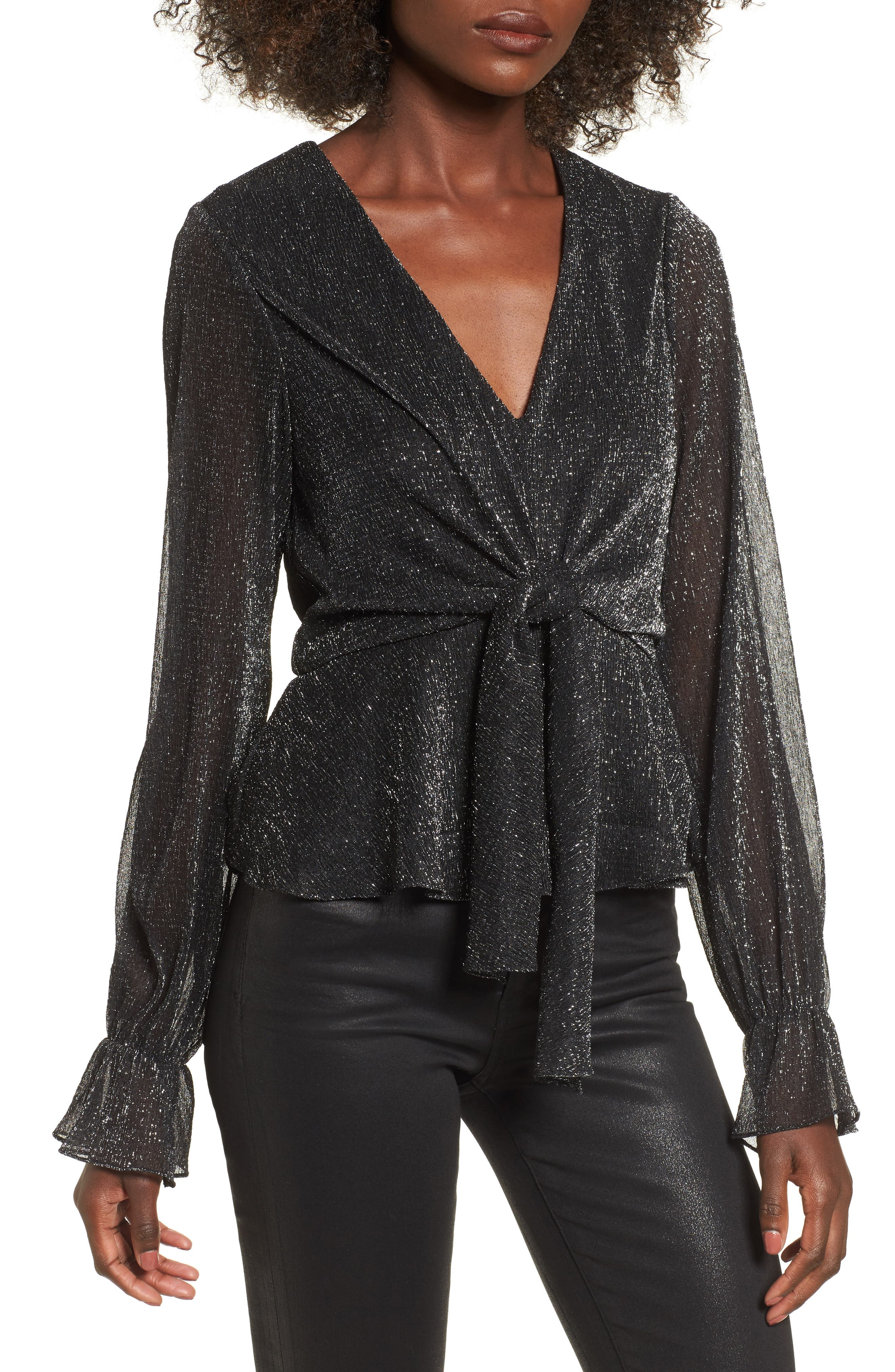 Metallic Tie Front Top,                             Main thumbnail 1, color,                             040