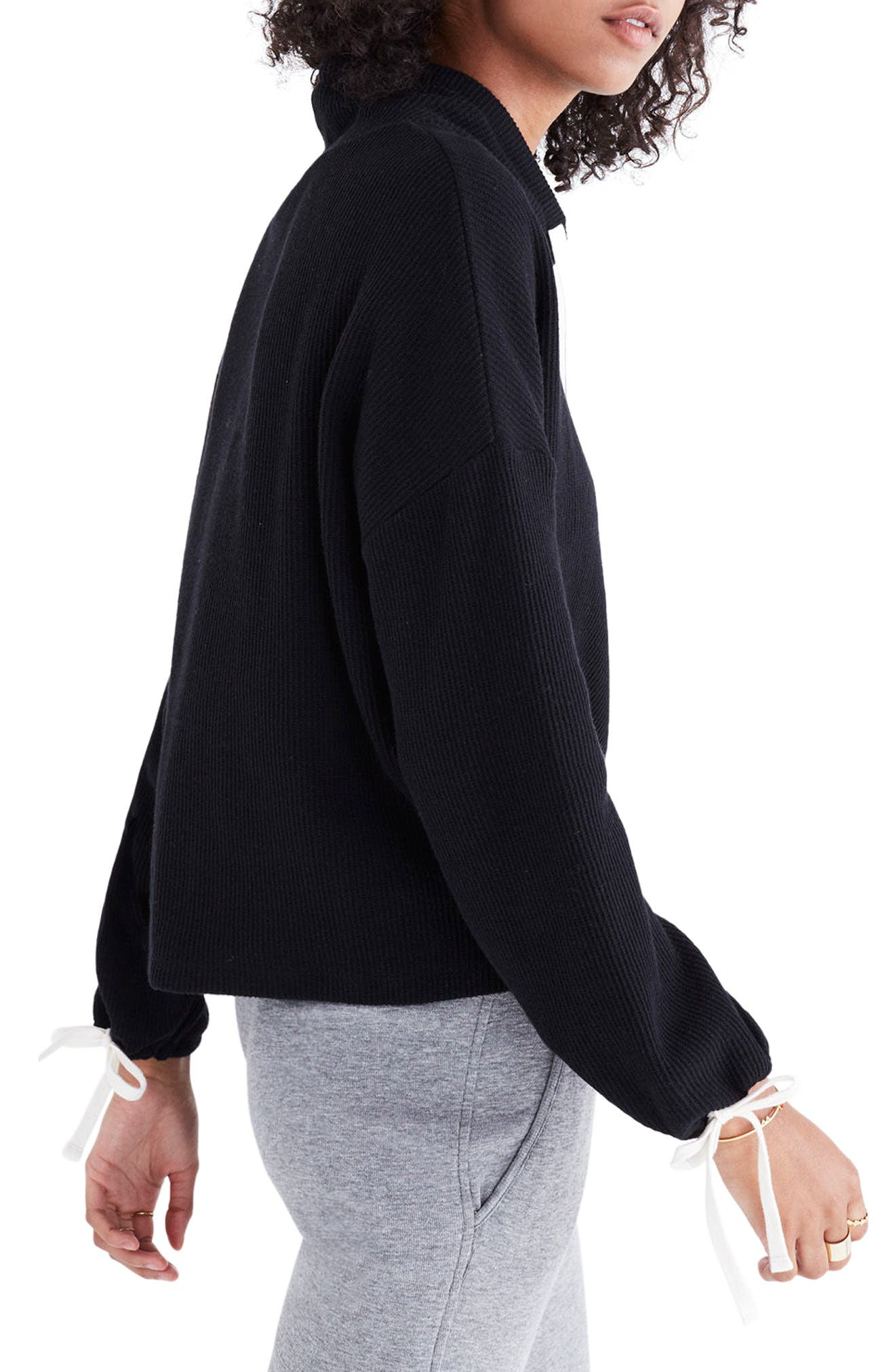 Funnel Neck Tie Sleeve Sweatshirt,                             Alternate thumbnail 3, color,                             001