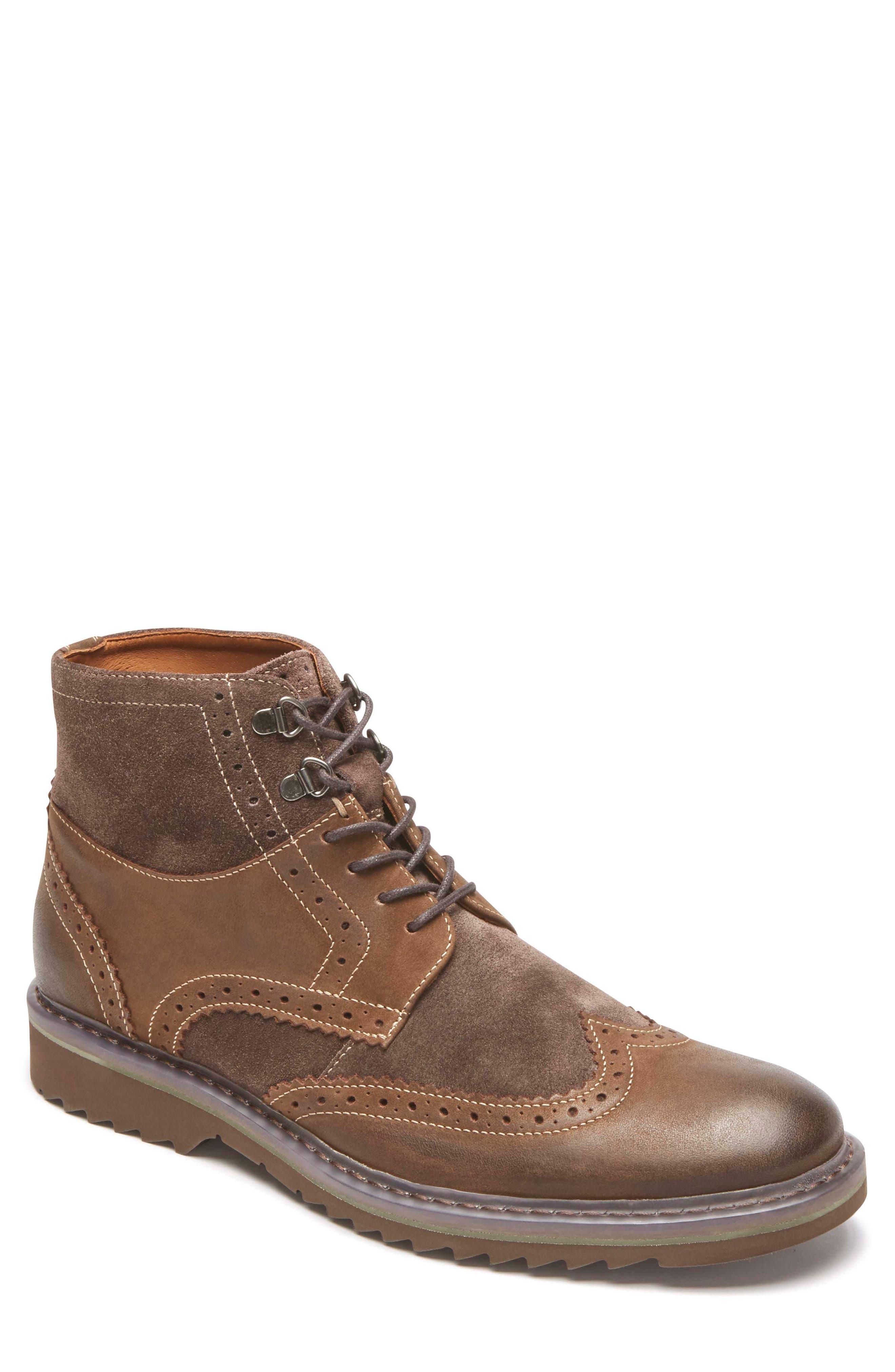 Jaxson Wingtip Boot,                         Main,                         color, BROWN LEATHER