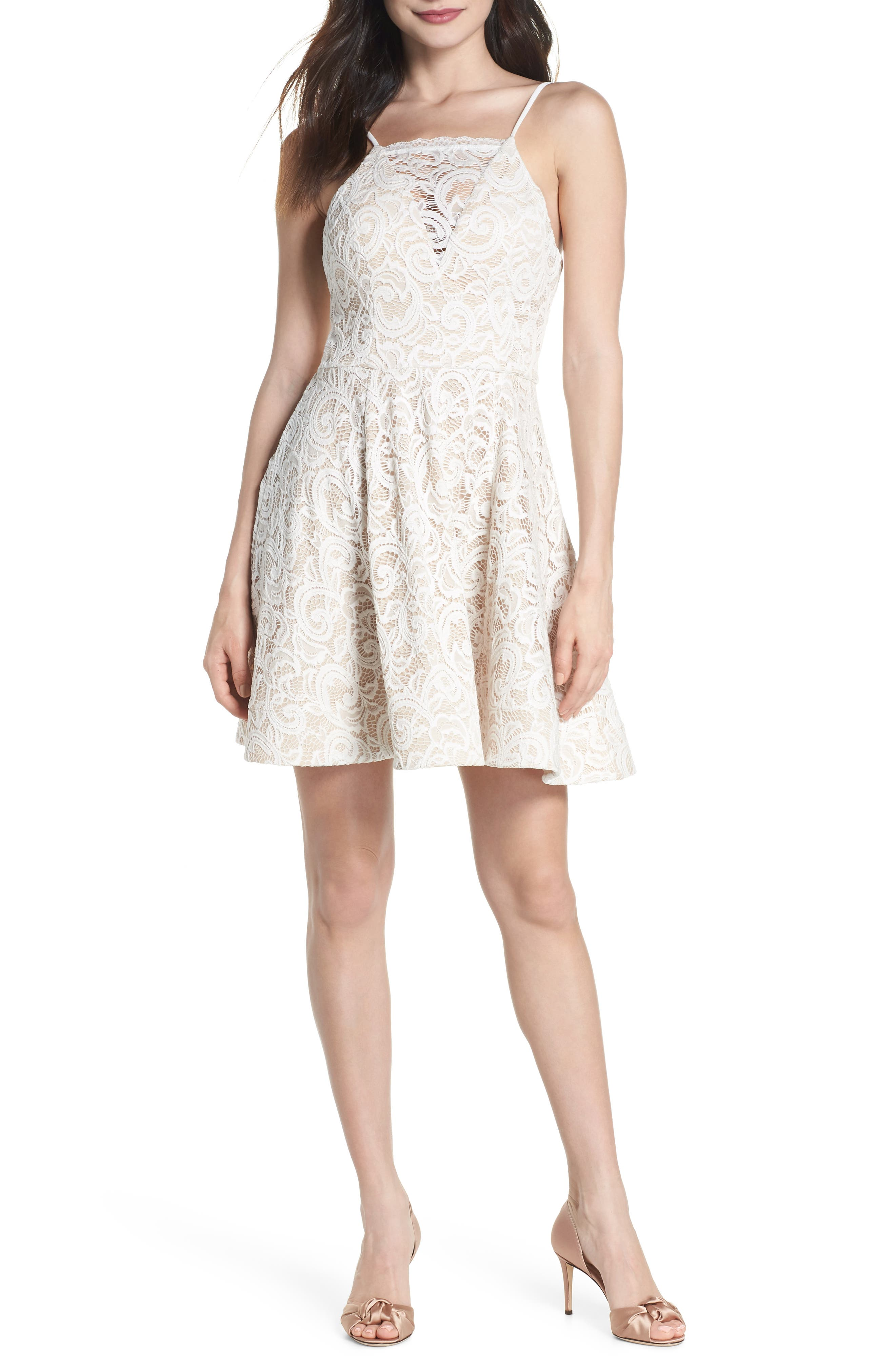 Illusion Lace Fit & Flare Dress,                             Main thumbnail 1, color,                             IVORY/ NUDE