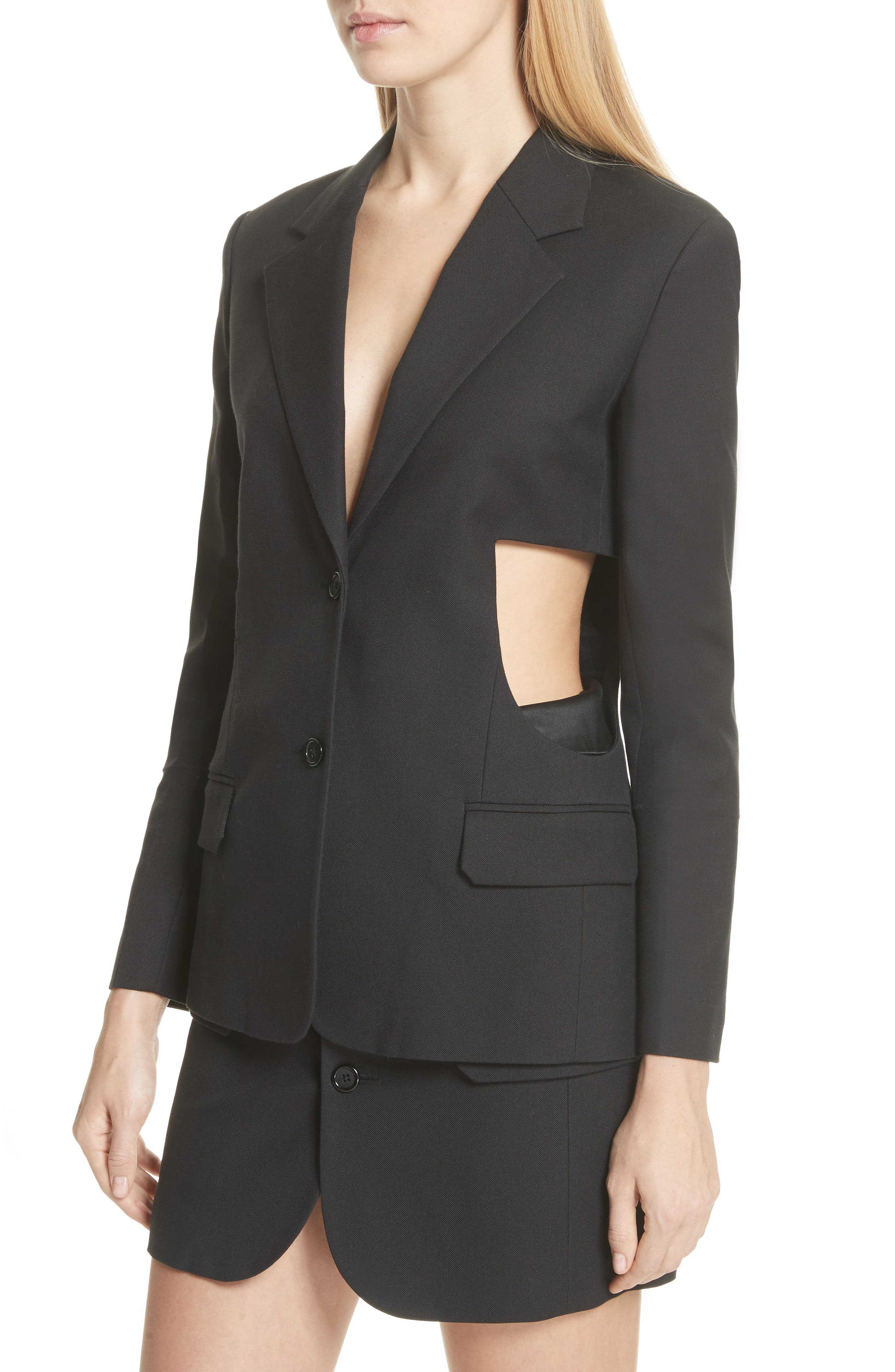 HELMUT LANG,                             Cutout Waist Blazer,                             Alternate thumbnail 4, color,                             001