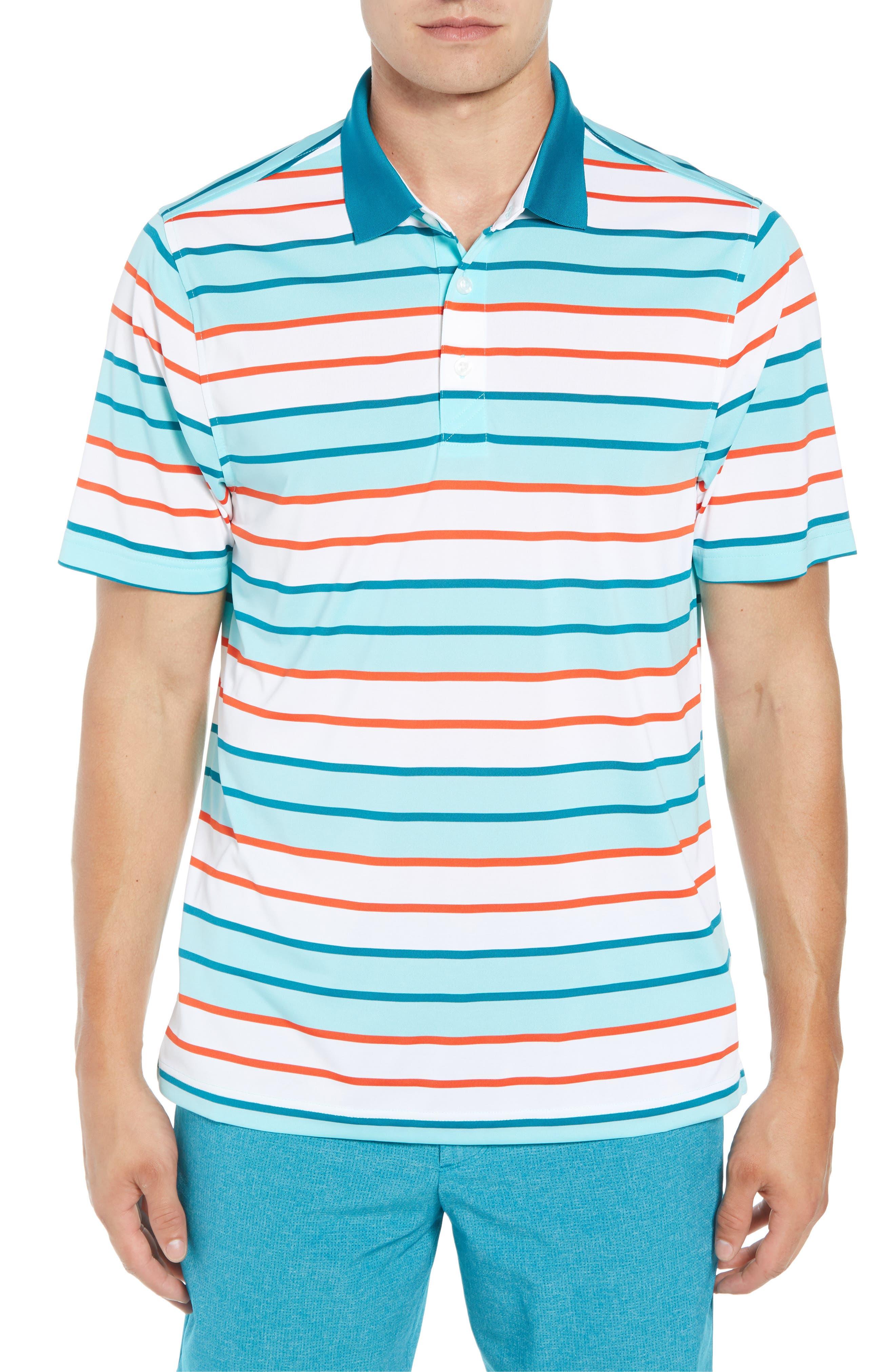 Cody DryTec Striped Polo,                             Main thumbnail 1, color,                             AQUATIC