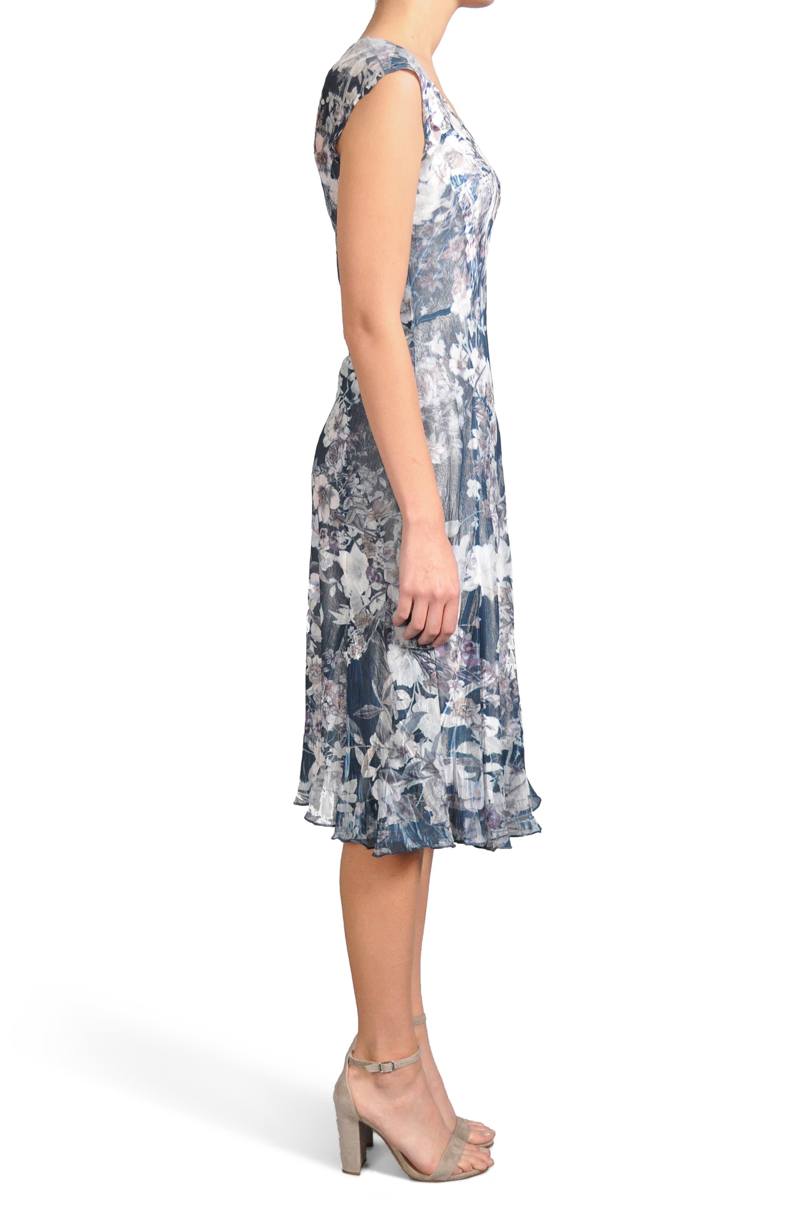 Print Pleated Chiffon & Charmeuse Dress,                             Alternate thumbnail 3, color,                             404