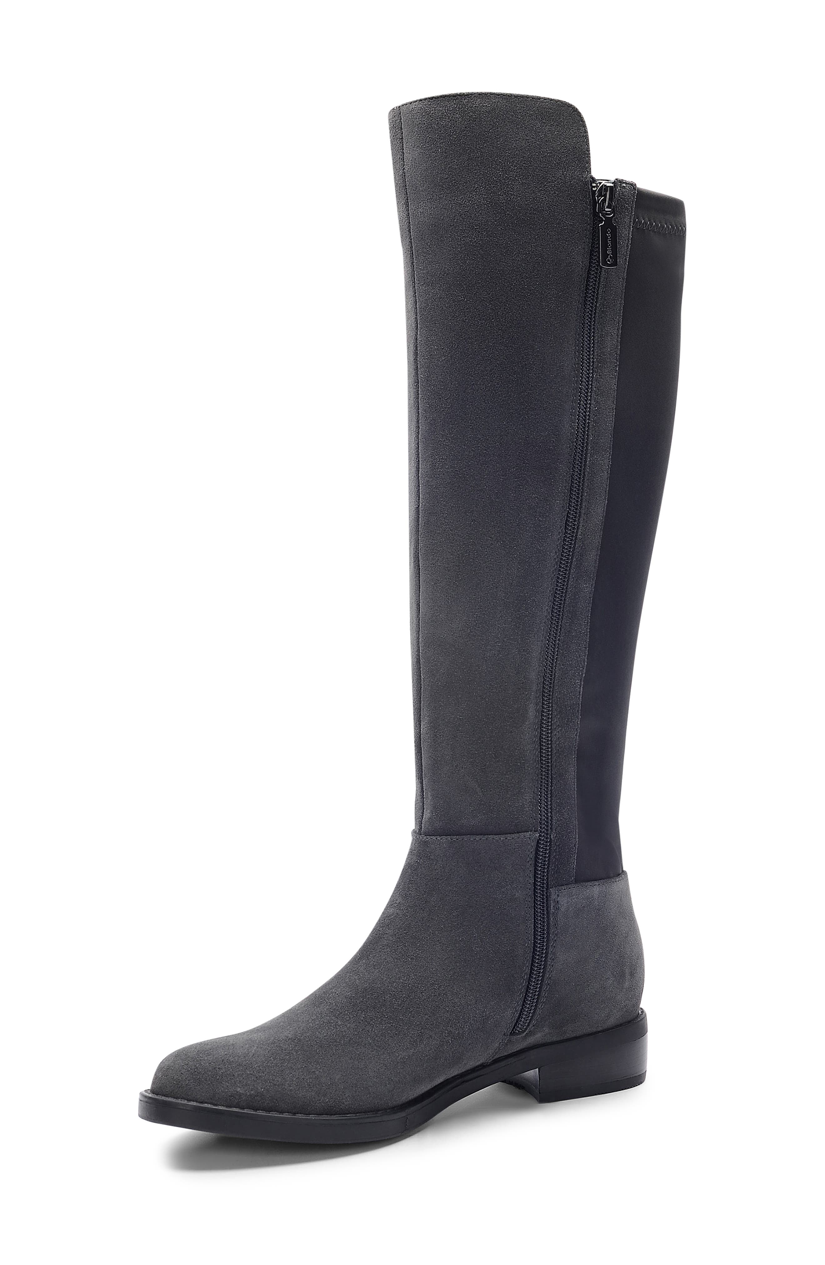 Ellie Waterproof Knee High Riding Boot,                             Alternate thumbnail 8, color,                             DARK GREY SUEDE