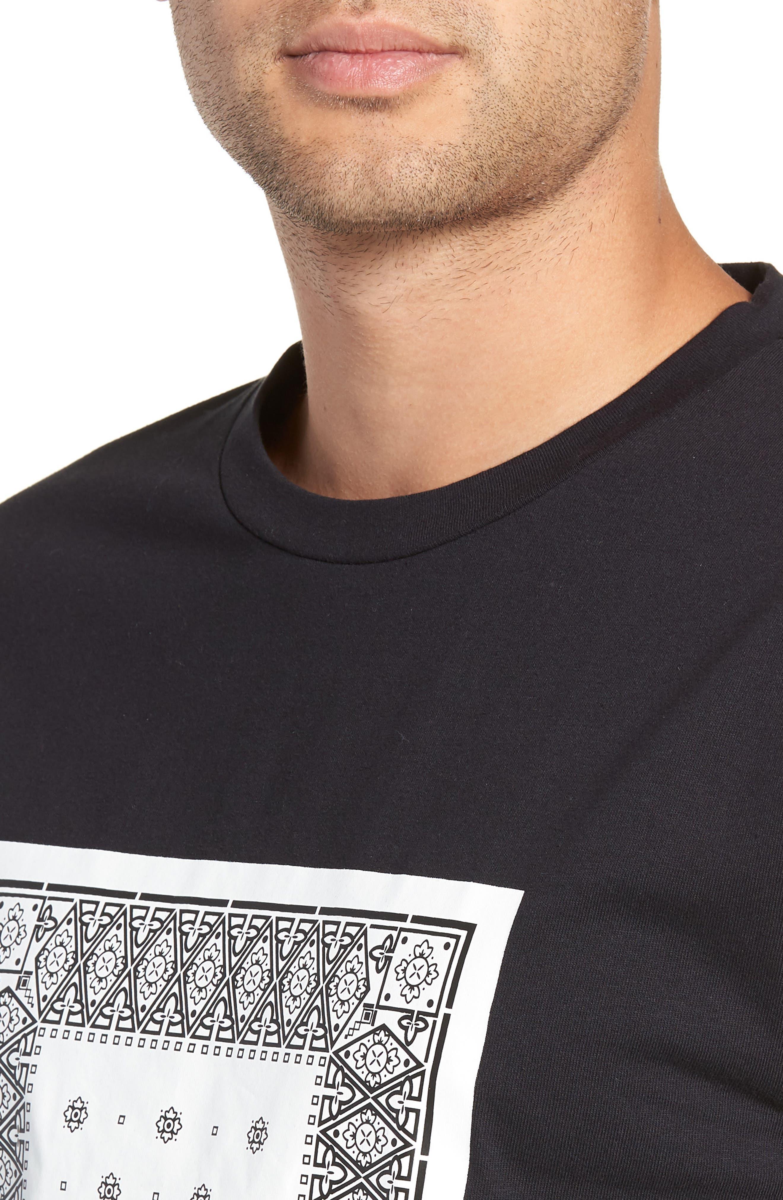 Bandanna Graphic T-Shirt,                             Alternate thumbnail 4, color,                             BLACK