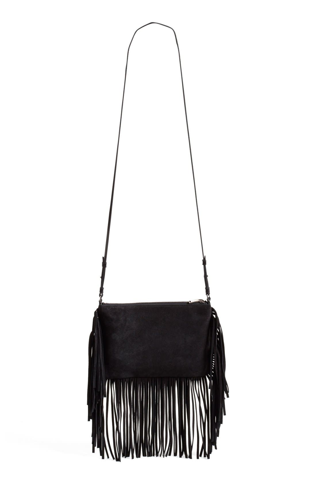 Fringe Suede Crossbody Bag,                             Alternate thumbnail 3, color,                             001