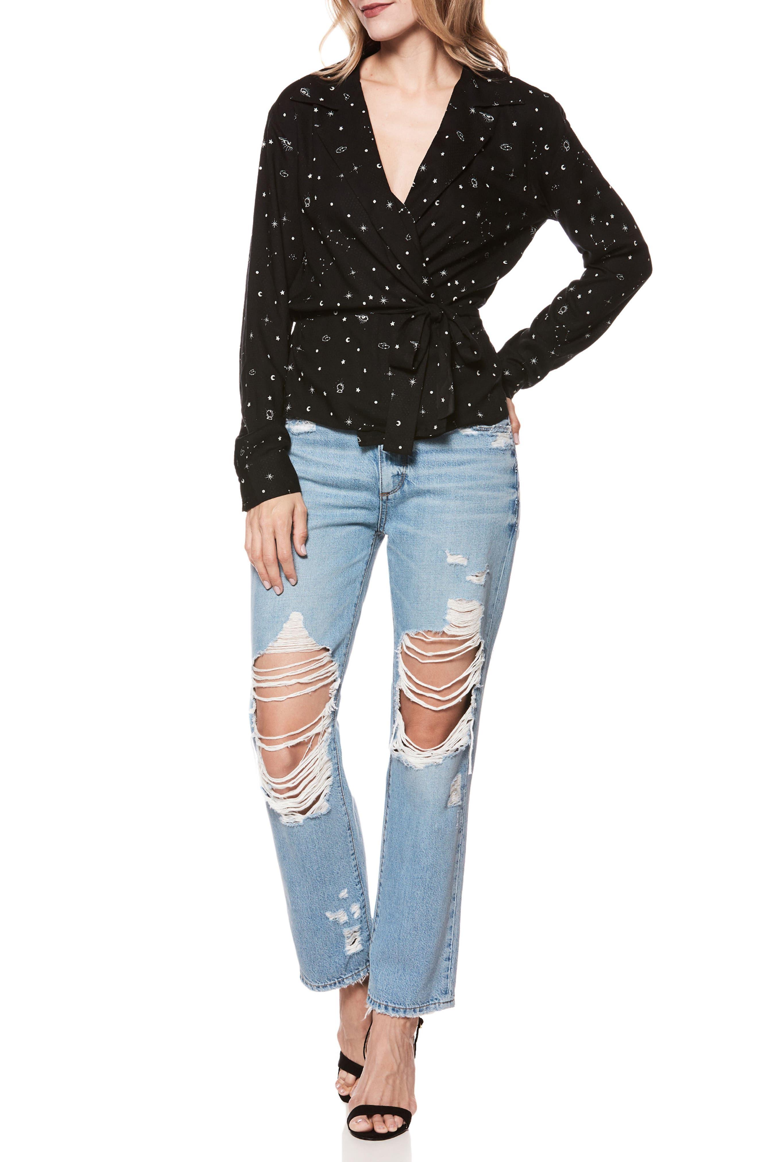 Noella Ripped Straight Leg Jeans,                             Alternate thumbnail 3, color,                             400