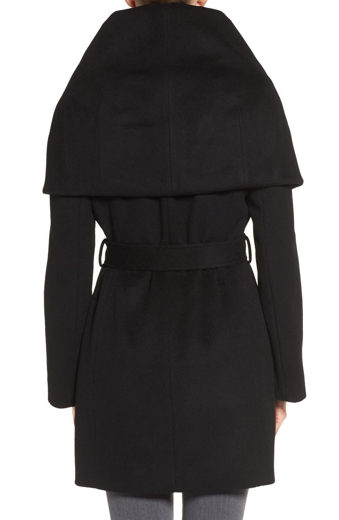 T Tahari Wool Blend Belted Wrap Coat,                             Alternate thumbnail 3, color,                             BLACK