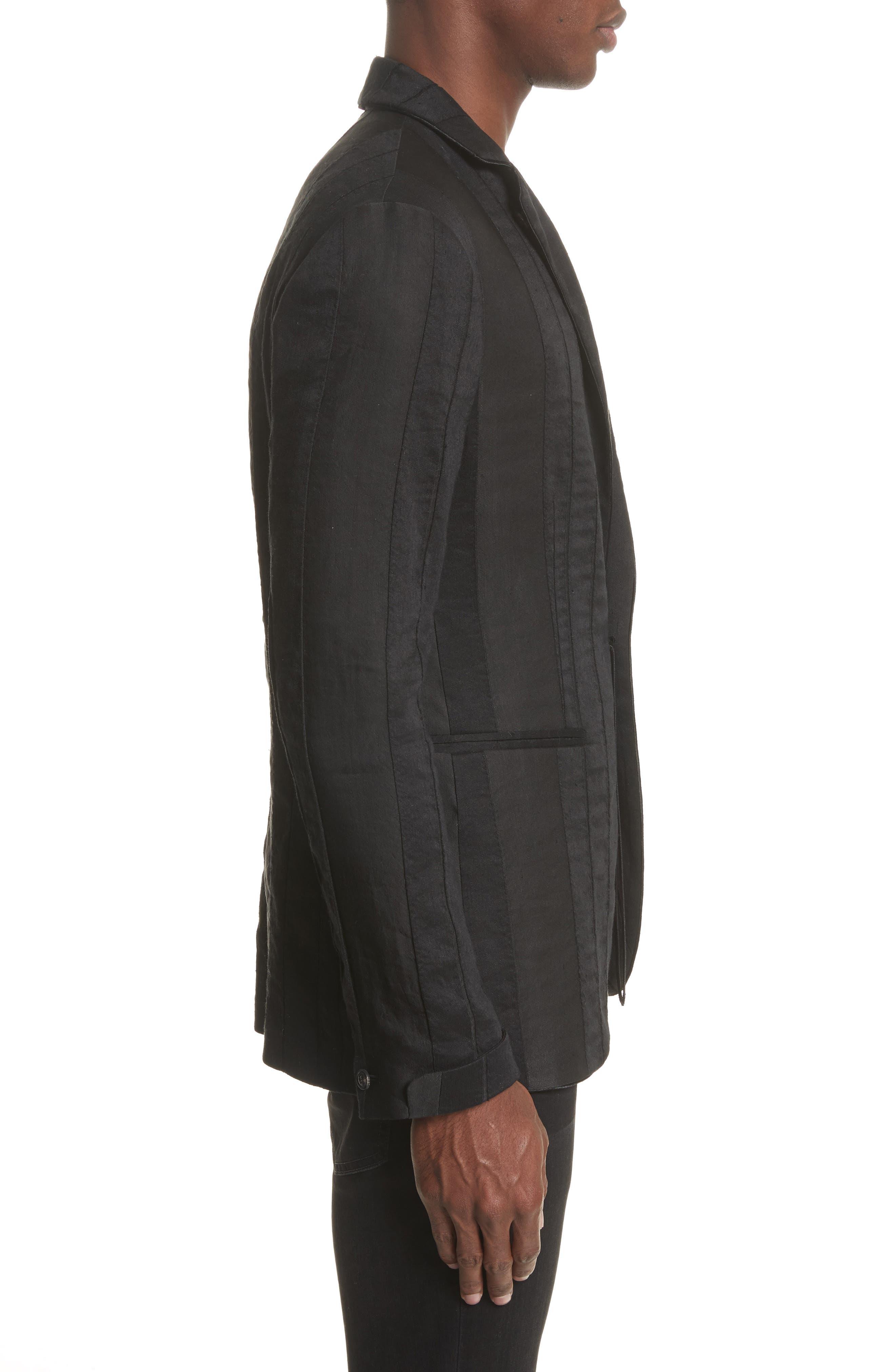 Slim Fit Linen Blend Blazer,                             Alternate thumbnail 3, color,                             BLACK