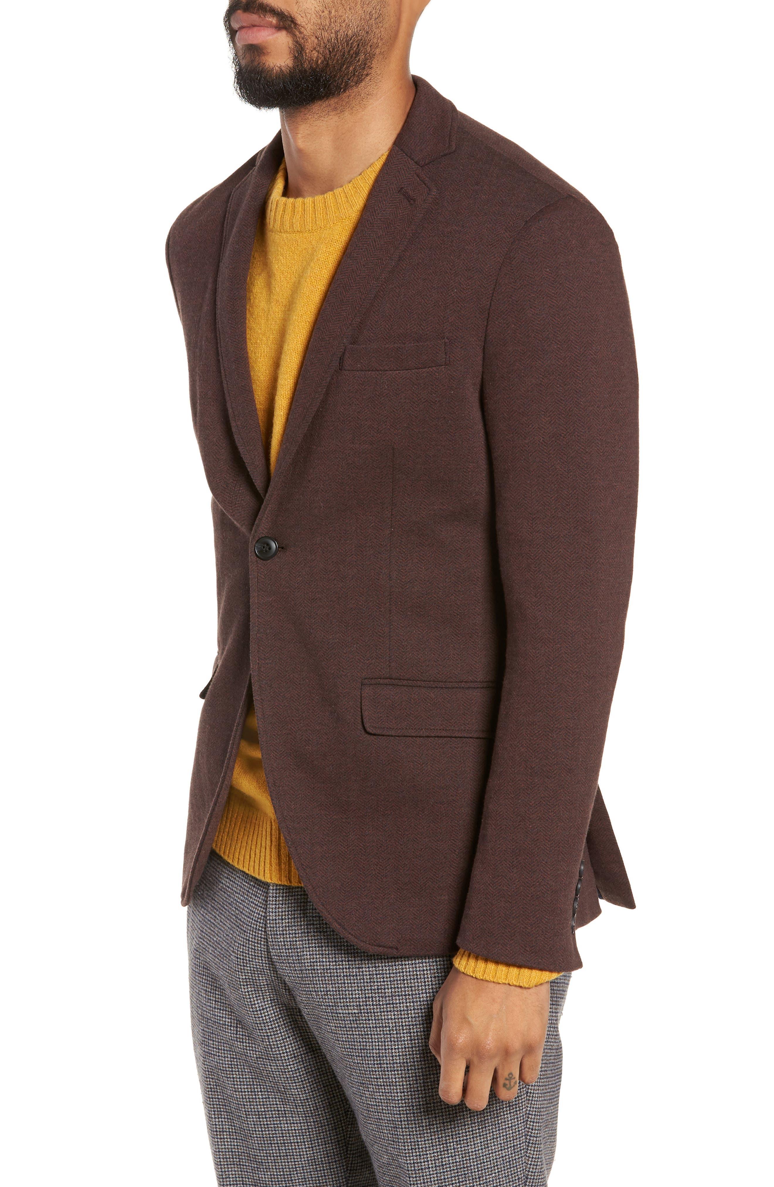 Herrold Slim Fit Herringbone Jersey Sport Coat,                             Alternate thumbnail 3, color,                             205