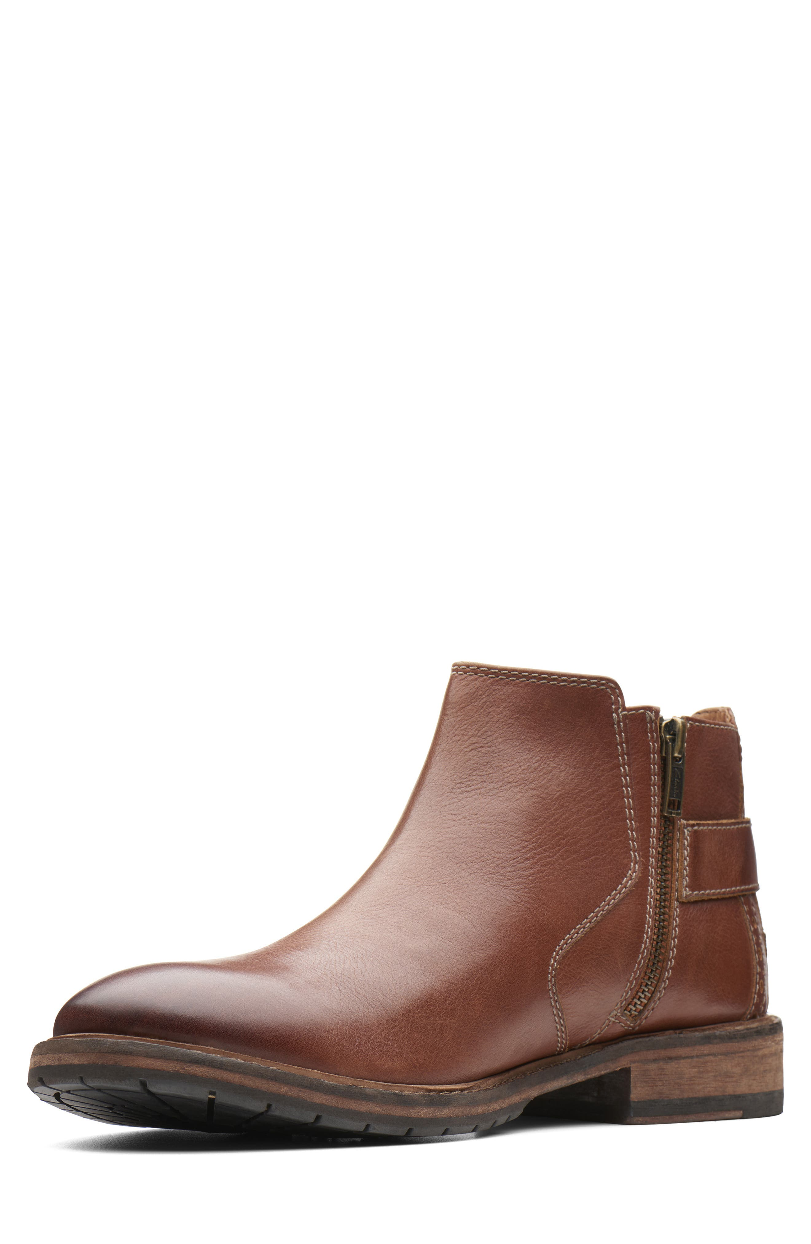Clarkdale Remi Ankle Boot,                             Alternate thumbnail 6, color,                             DARK TAN LEATHER