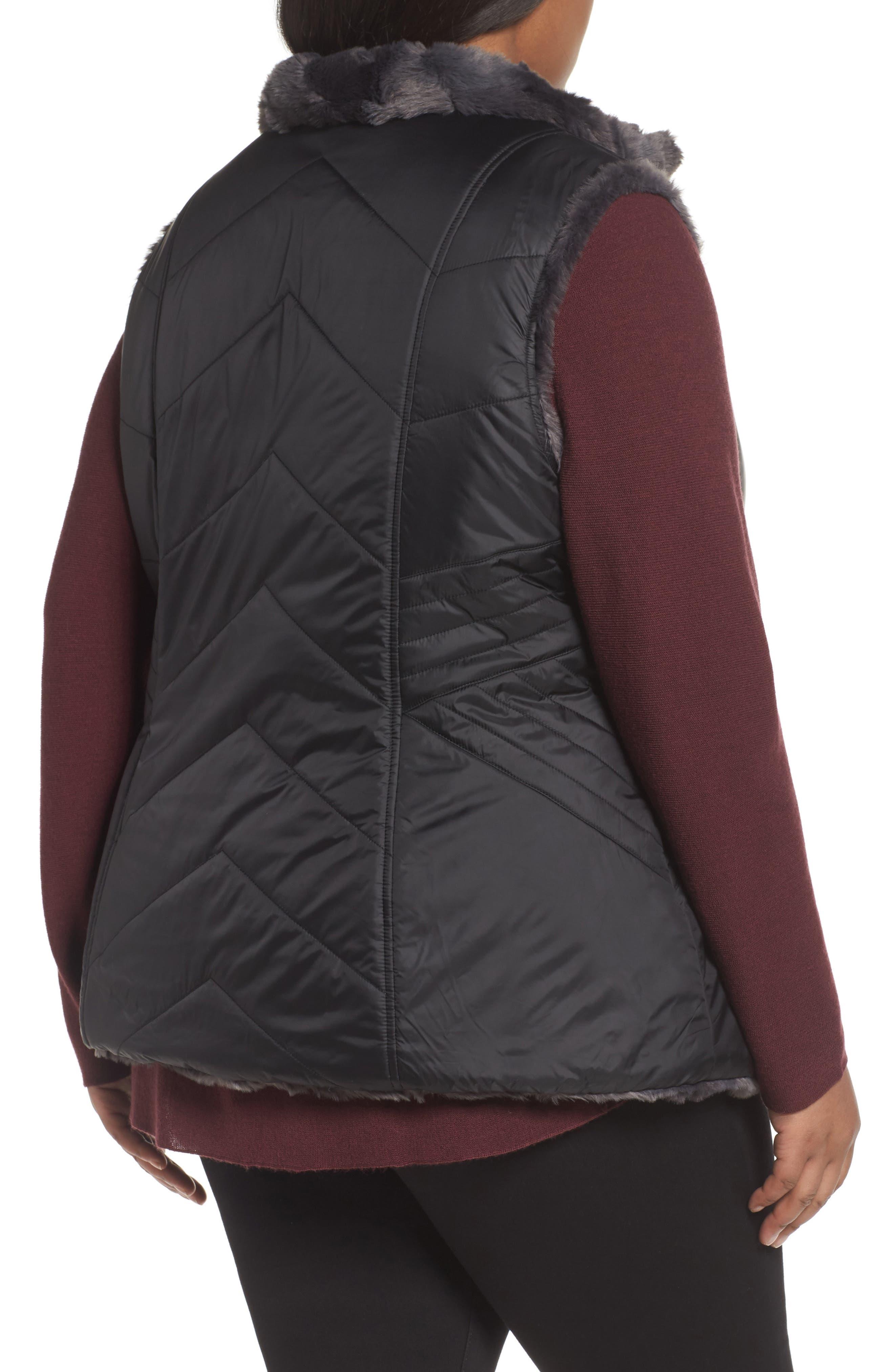 Reversible Faux Fur Vest,                             Alternate thumbnail 2, color,                             001