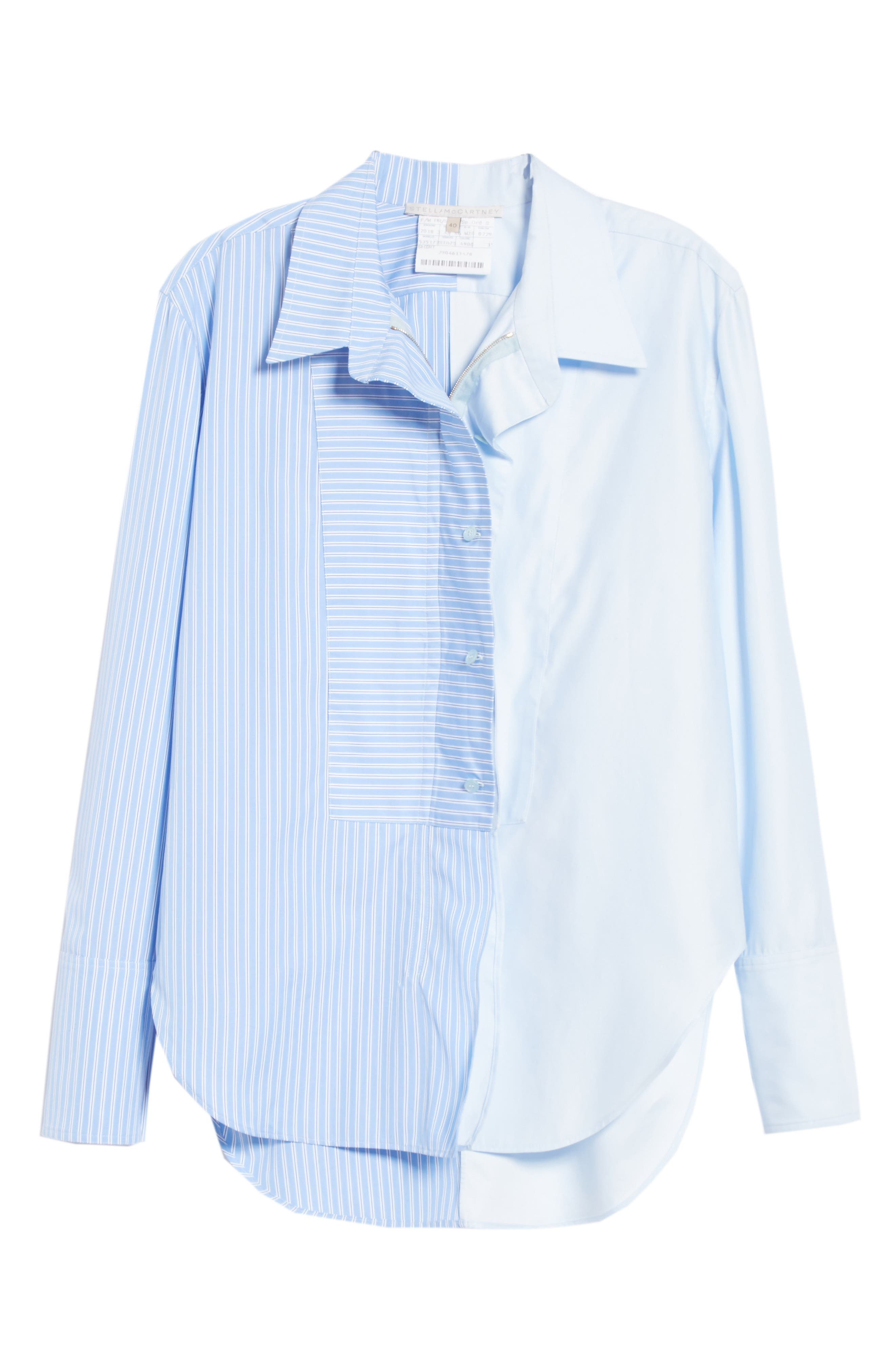 Two-Tone Zip Front Poplin Shirt,                             Alternate thumbnail 6, color,                             SKY BLUE