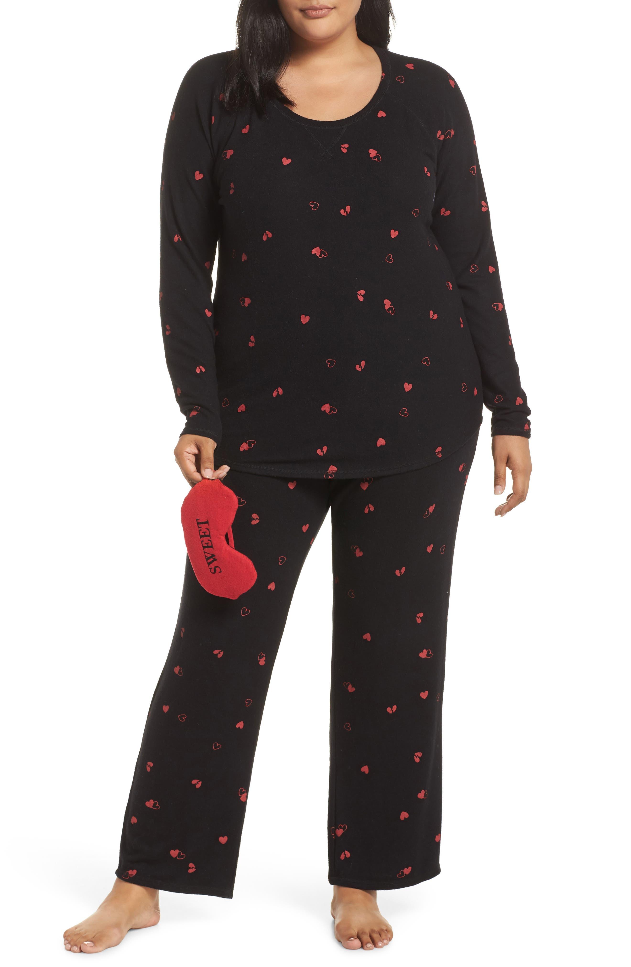 Plus Size Make + Model Knit Pajamas & Sleep Mask, Black
