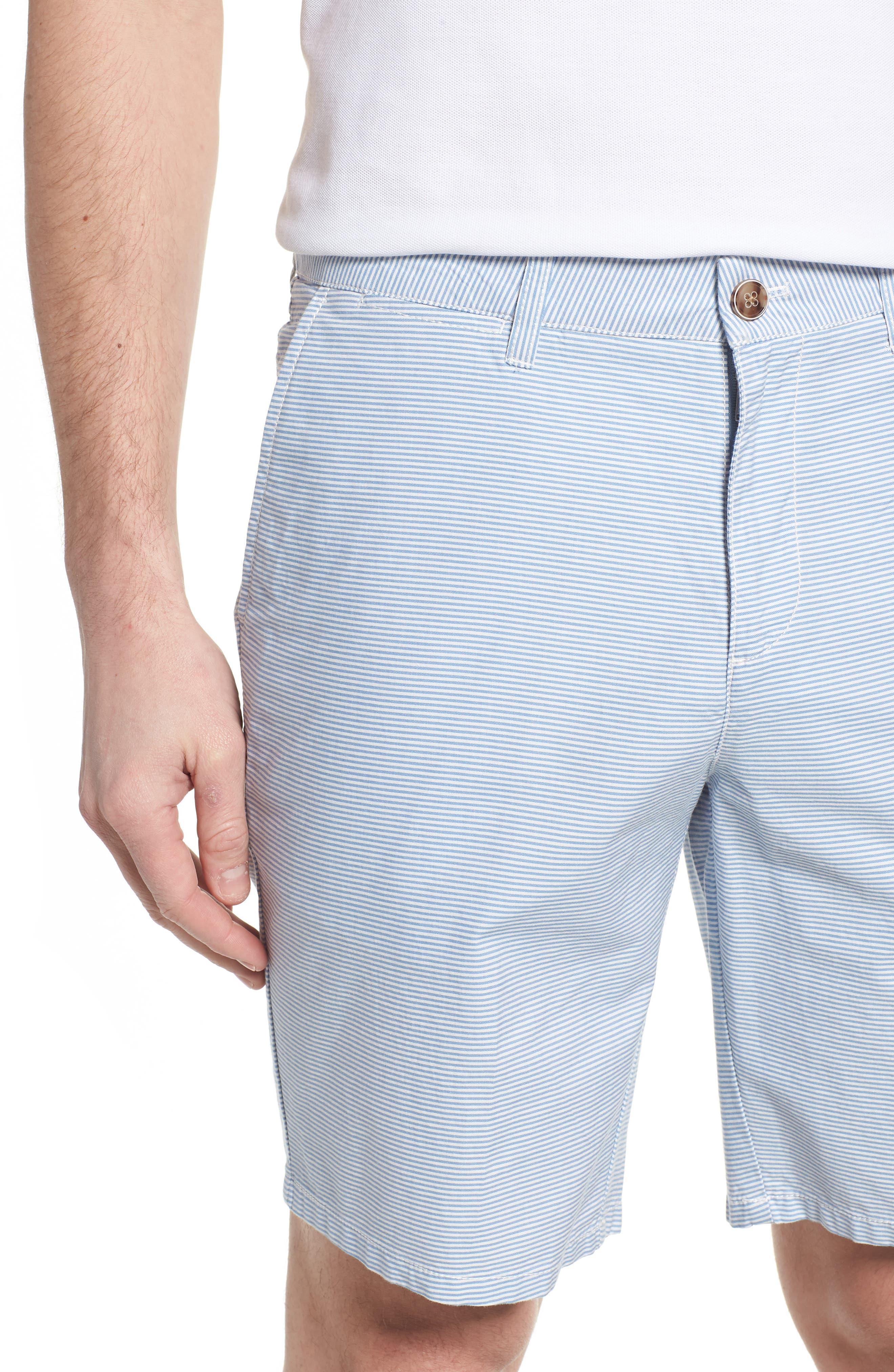 Geordy Regular Fit Pinstripe Shorts,                             Alternate thumbnail 4, color,                             400