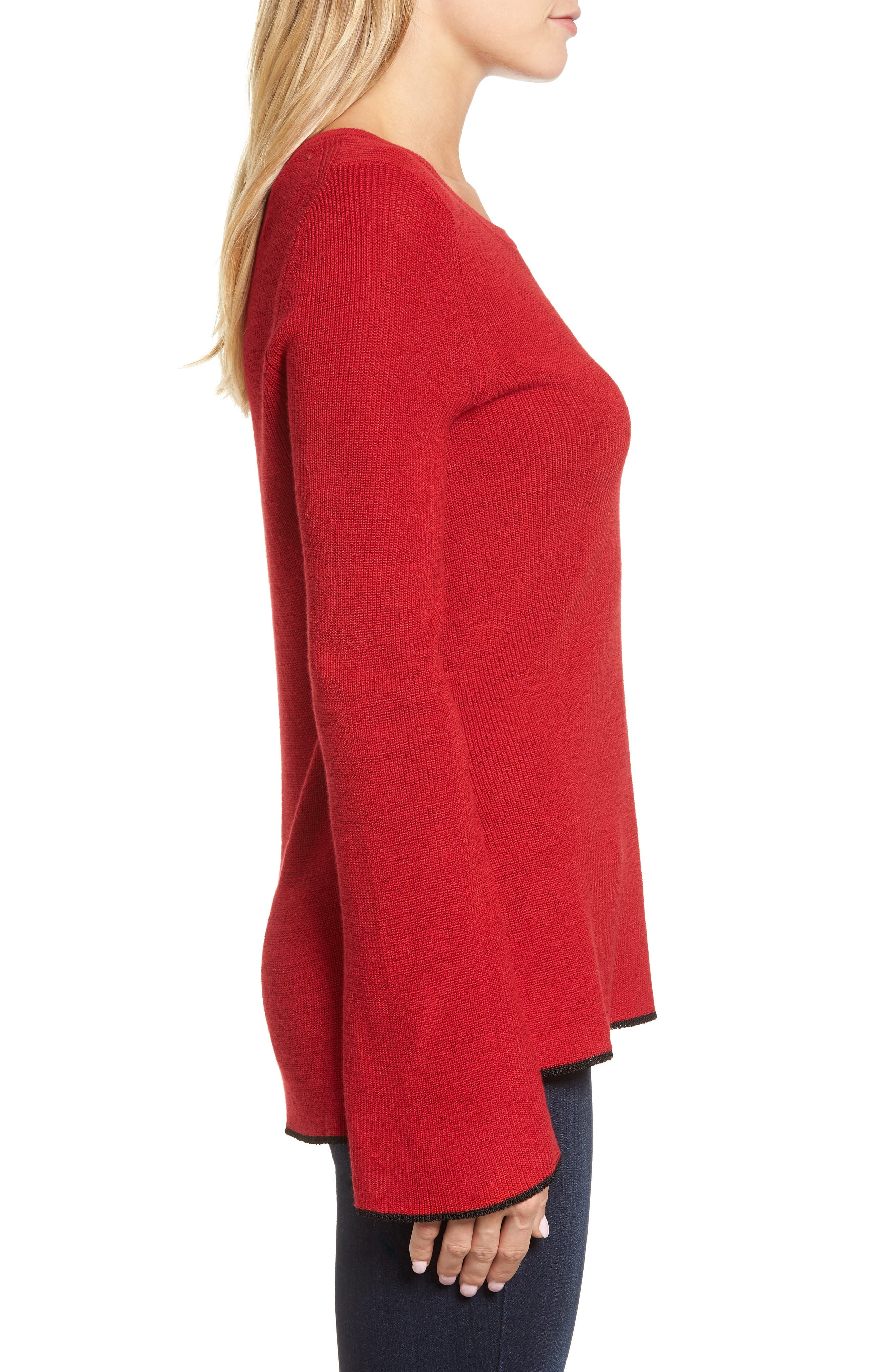 Tipped Bell Sleeve Sweater,                             Alternate thumbnail 20, color,