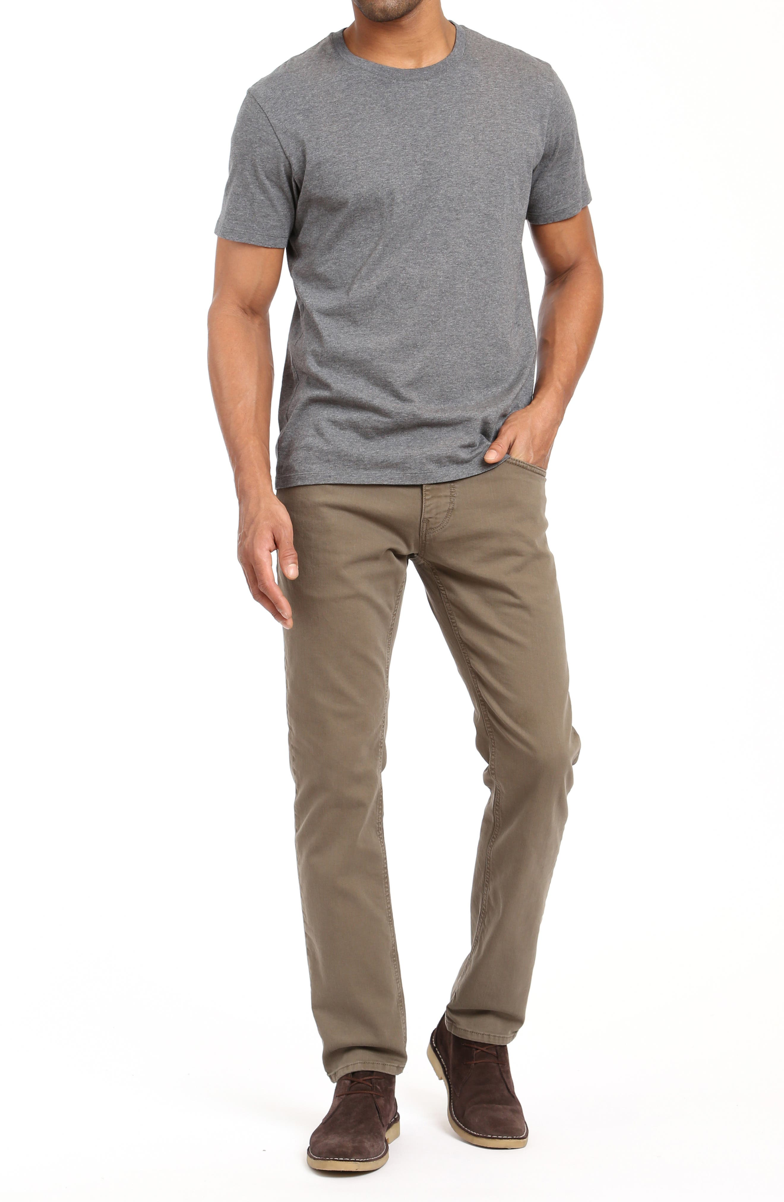 Zach Straight Leg Jeans,                             Alternate thumbnail 4, color,                             KHAKI WASHED COMFORT