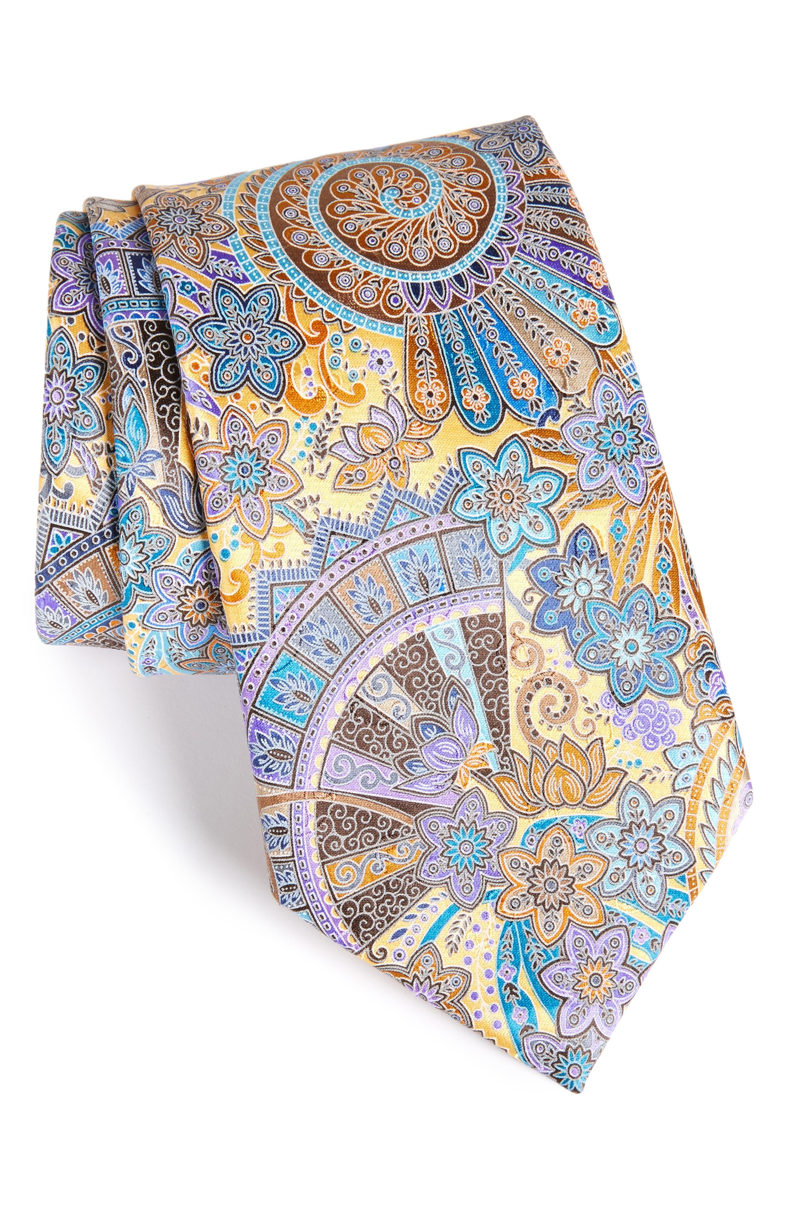 Quindici Paisley Silk Tie,                         Main,                         color, 728