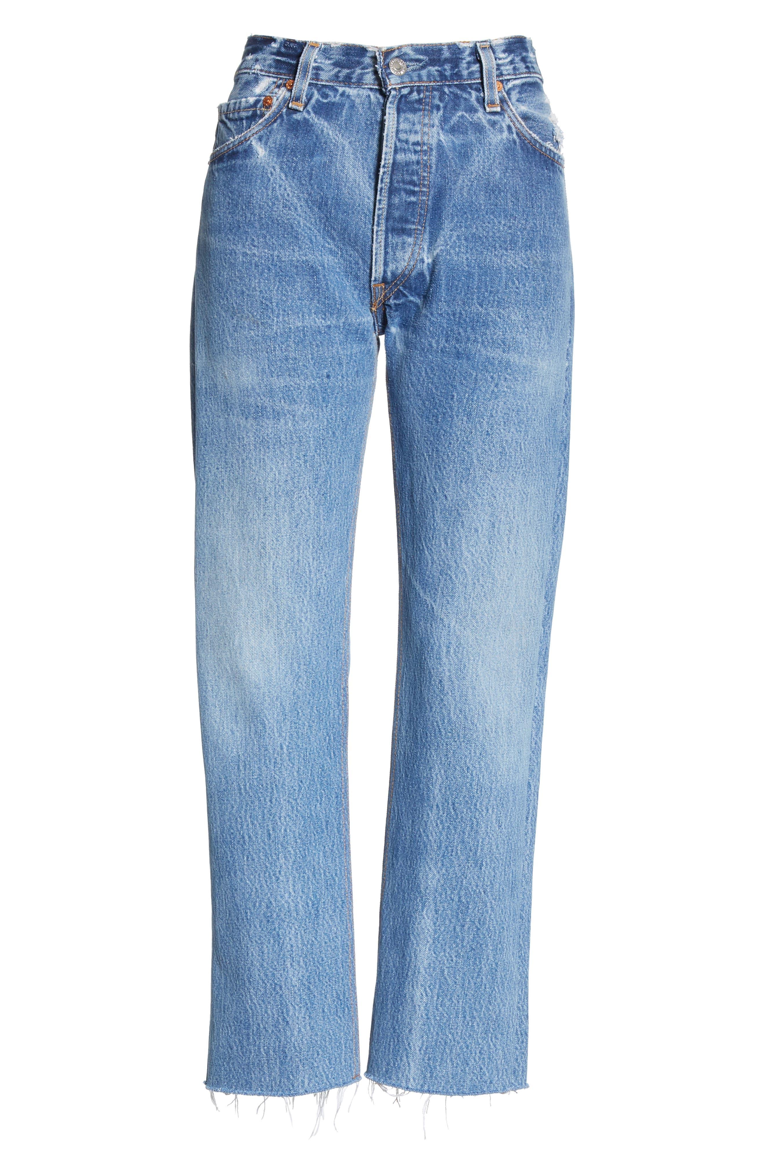 High Waist Stovepipe Jeans,                             Alternate thumbnail 6, color,                             INDIGO