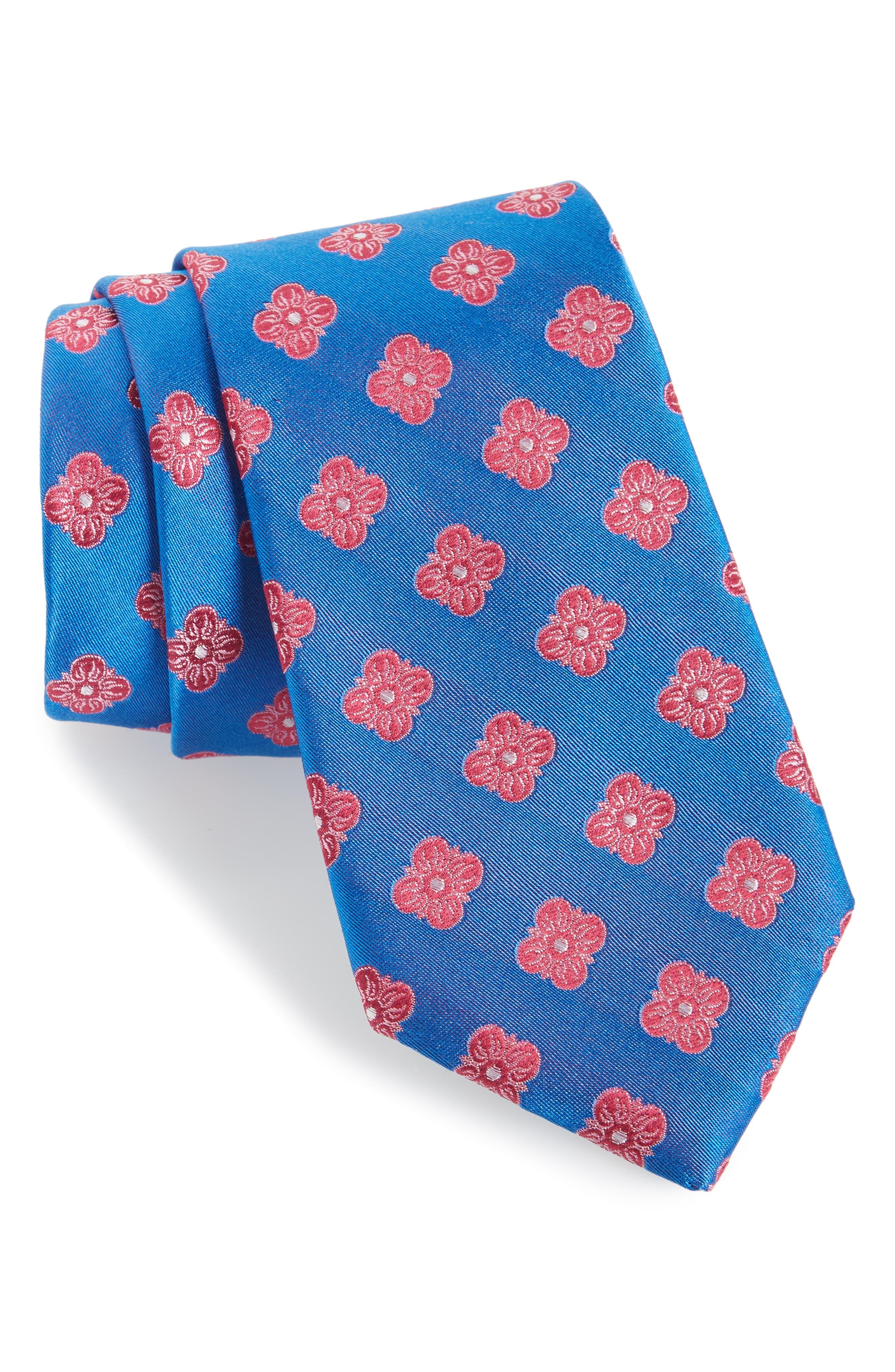 Cameron Floral Medallion Silk Tie,                             Main thumbnail 4, color,