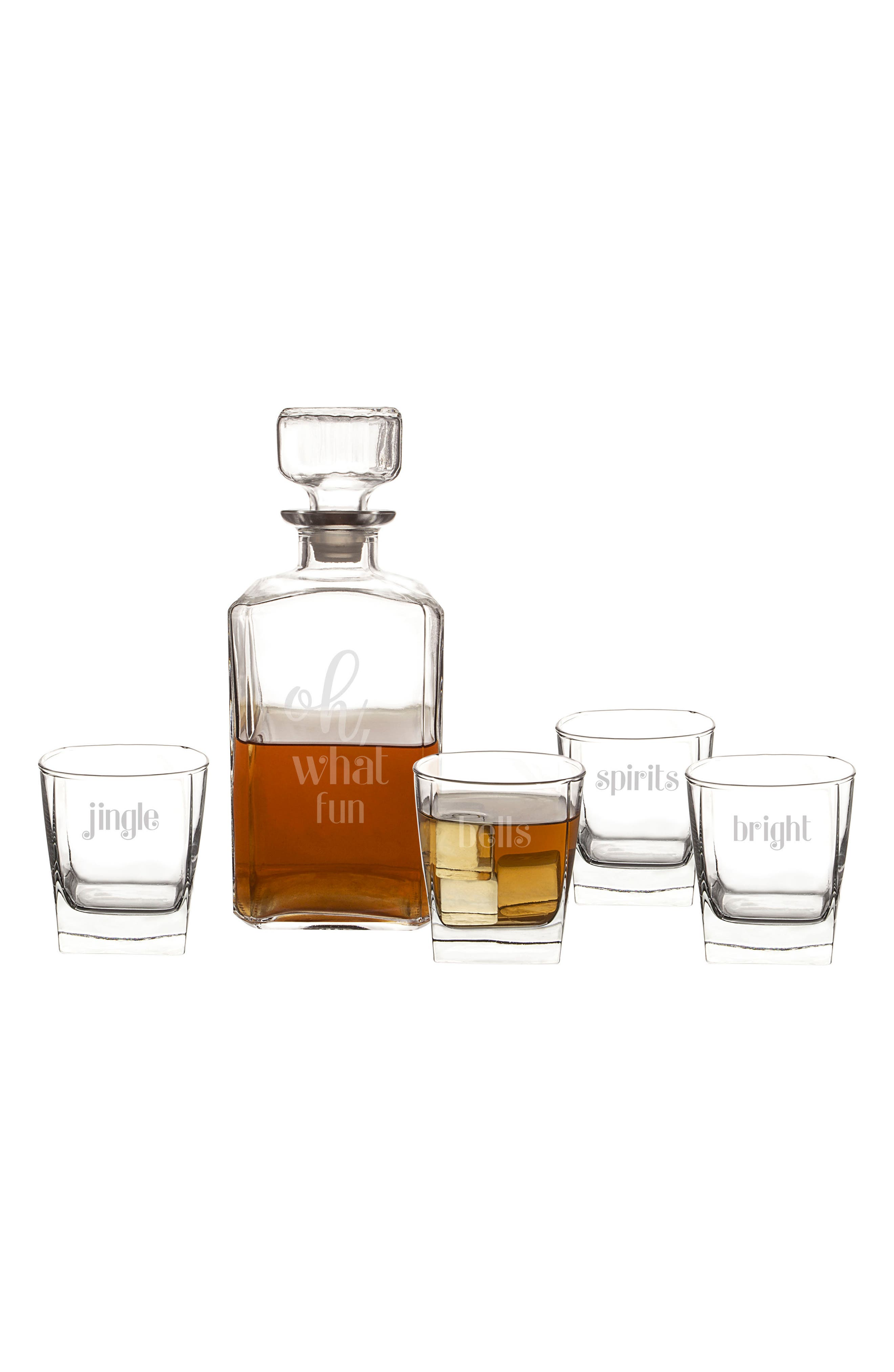 Oh What Fun 5-Piece Decanter Set,                             Main thumbnail 1, color,                             CLEAR