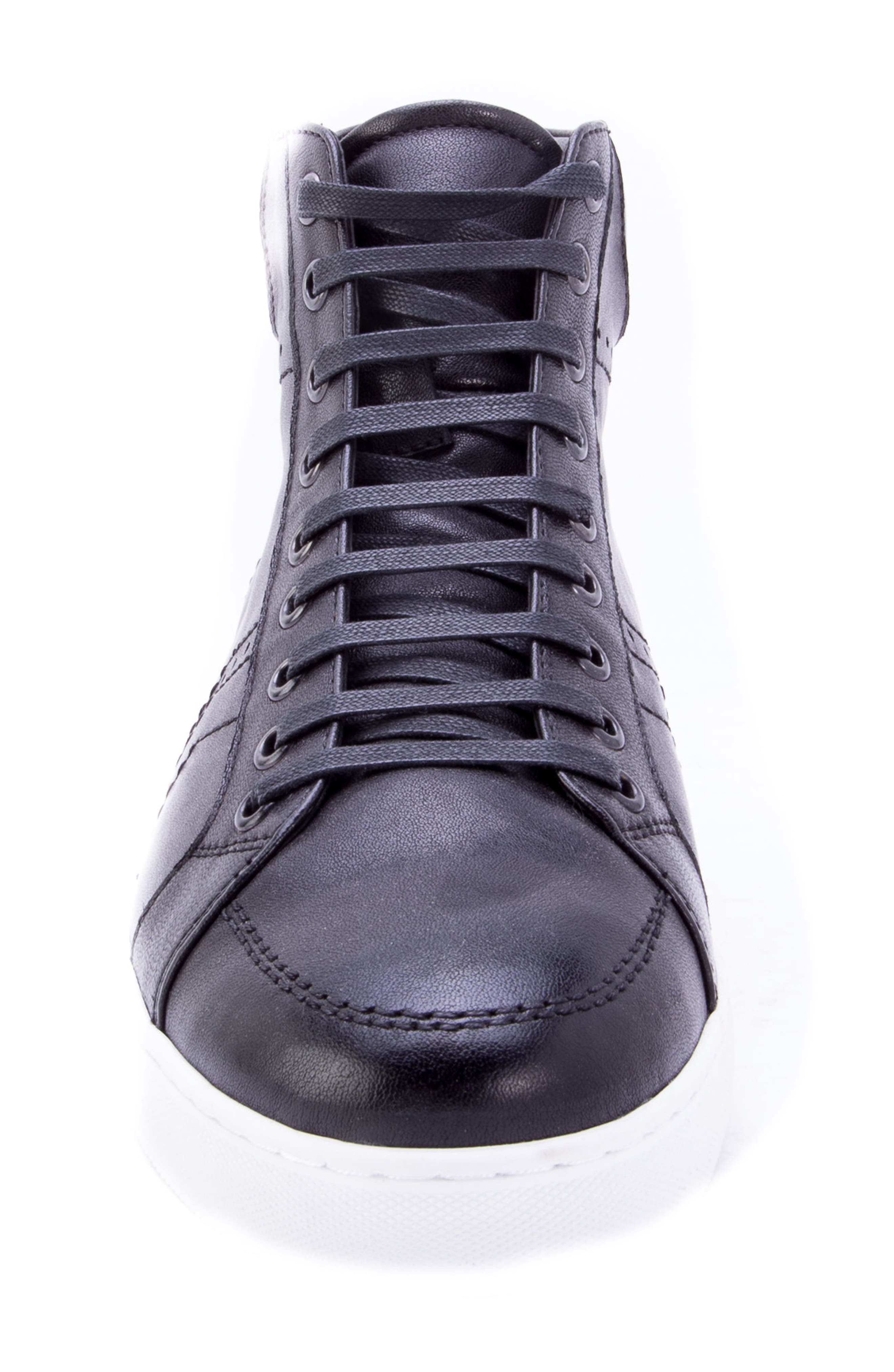Uglow Perforated High Top Sneaker,                             Alternate thumbnail 4, color,                             BLACK LEATHER