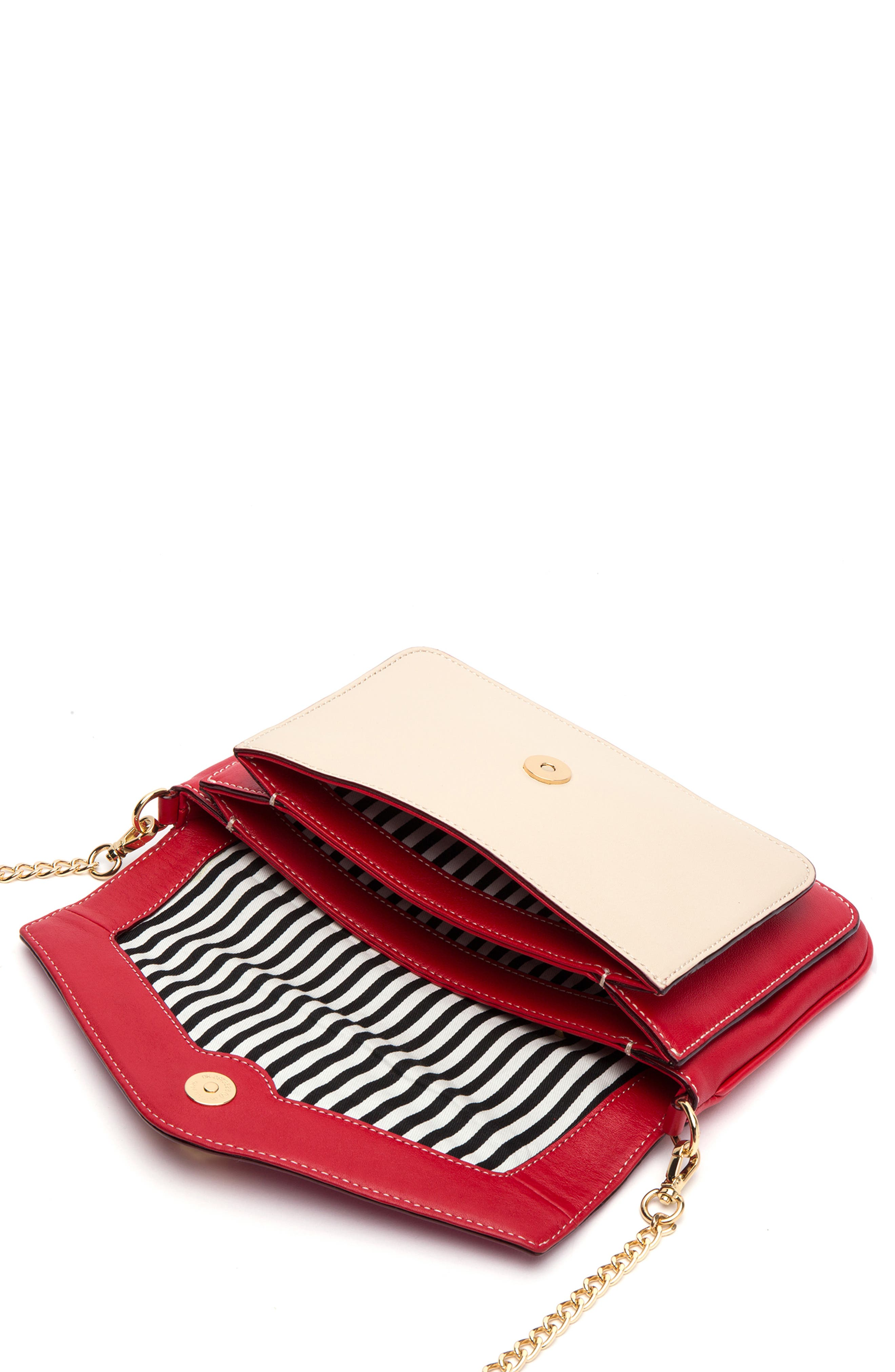 Tess Colorblock Leather Clutch,                             Alternate thumbnail 2, color,                             BLACK/ OYSTER/ RED