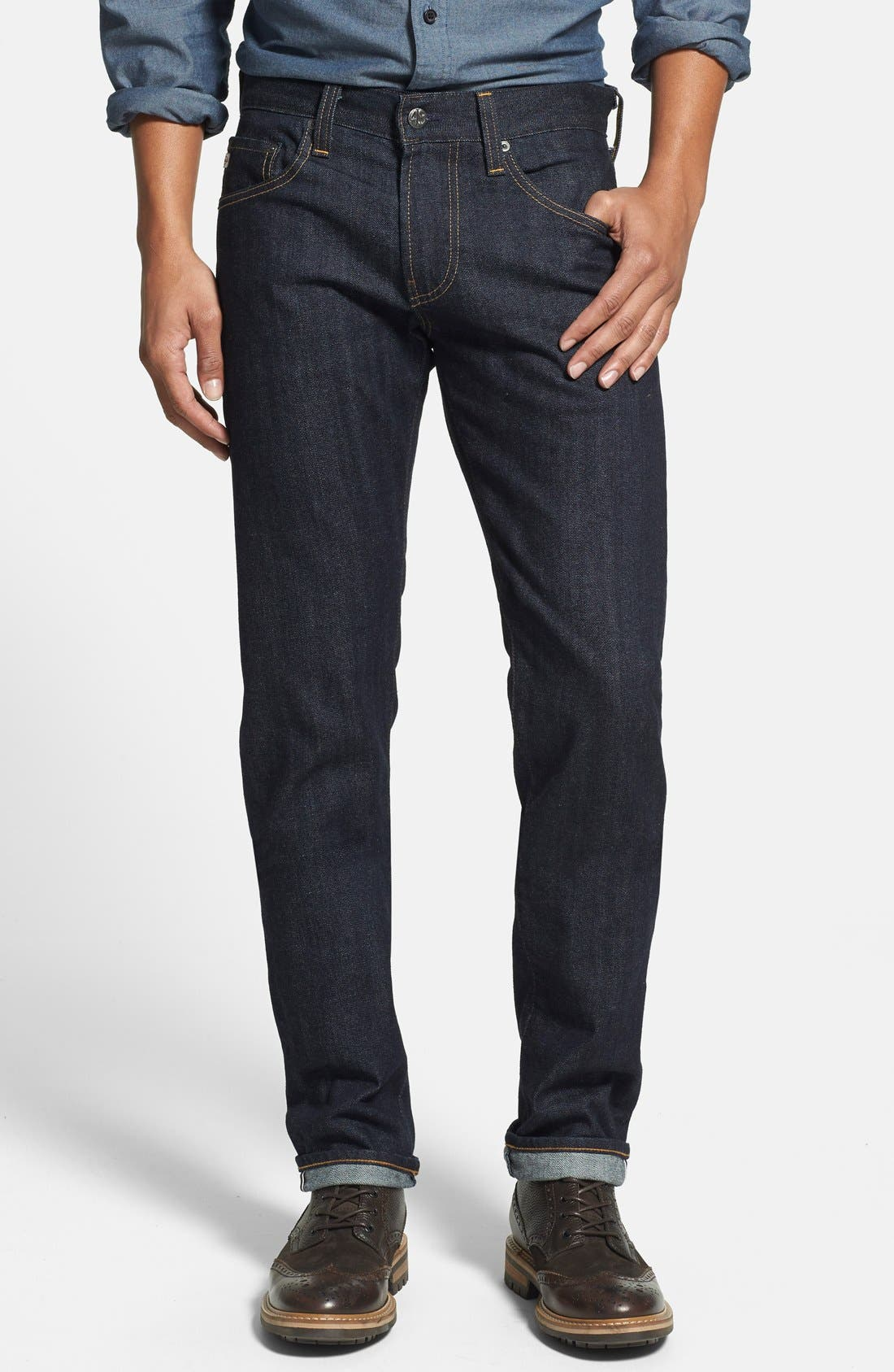 AG,                             'Nomad' Skinny Fit Selvedge Jeans,                             Main thumbnail 1, color,                             405