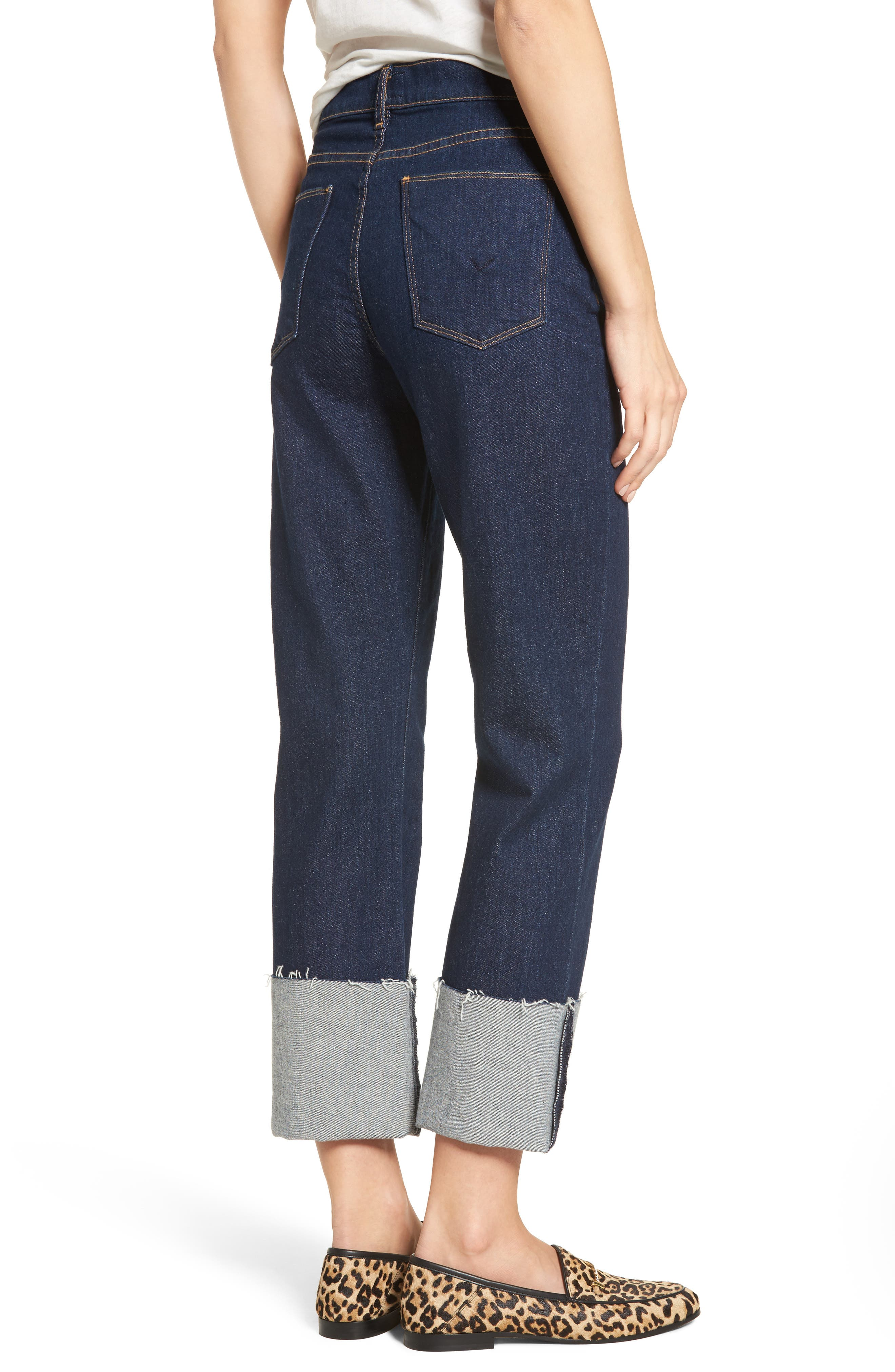 Zoeey High Waist Crop Straight Leg Jeans,                             Alternate thumbnail 4, color,