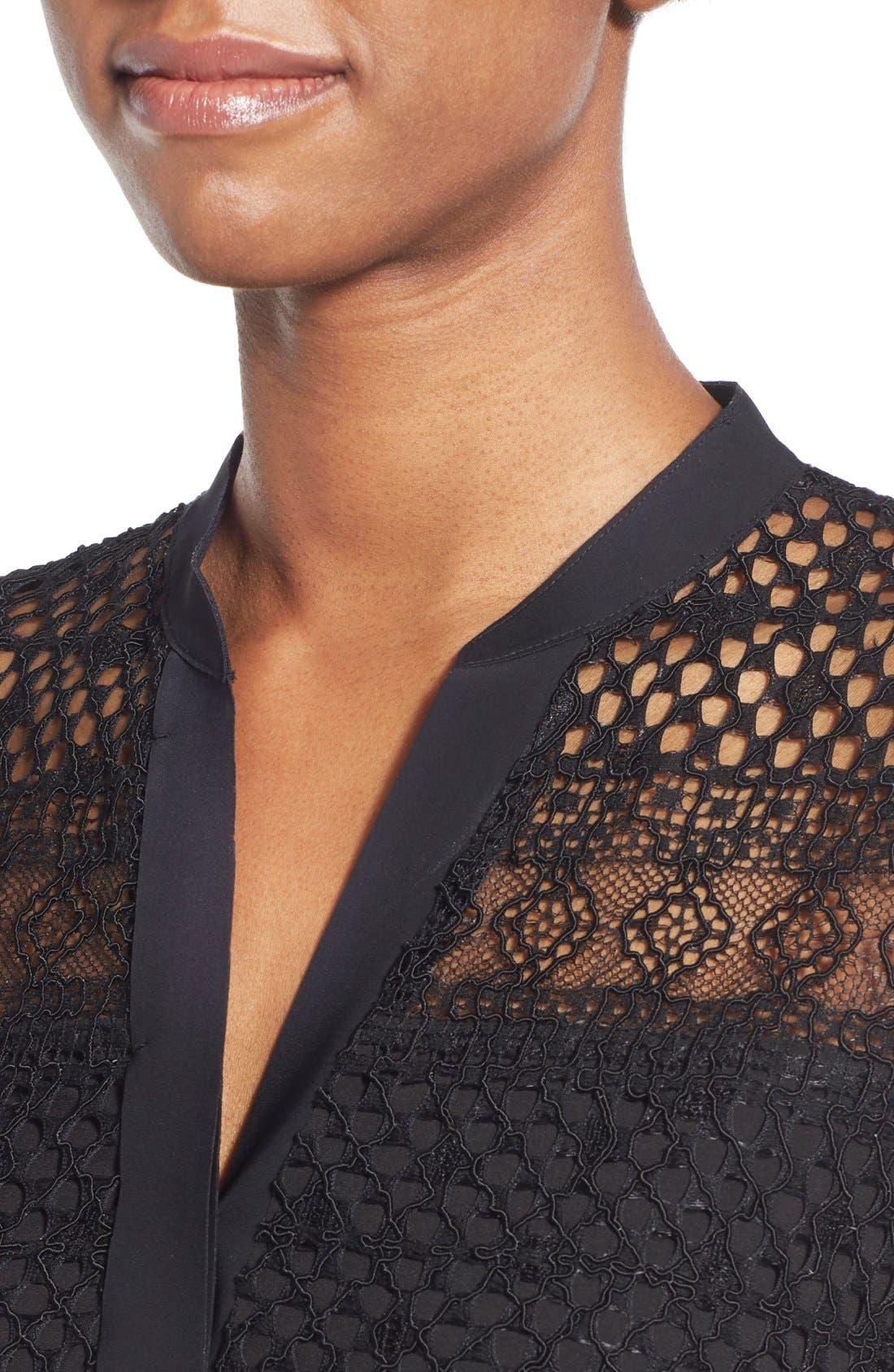 TAHARI,                             Elie Tahari 'Whitney' Split Neck Lace Sheath Dress,                             Alternate thumbnail 2, color,                             001