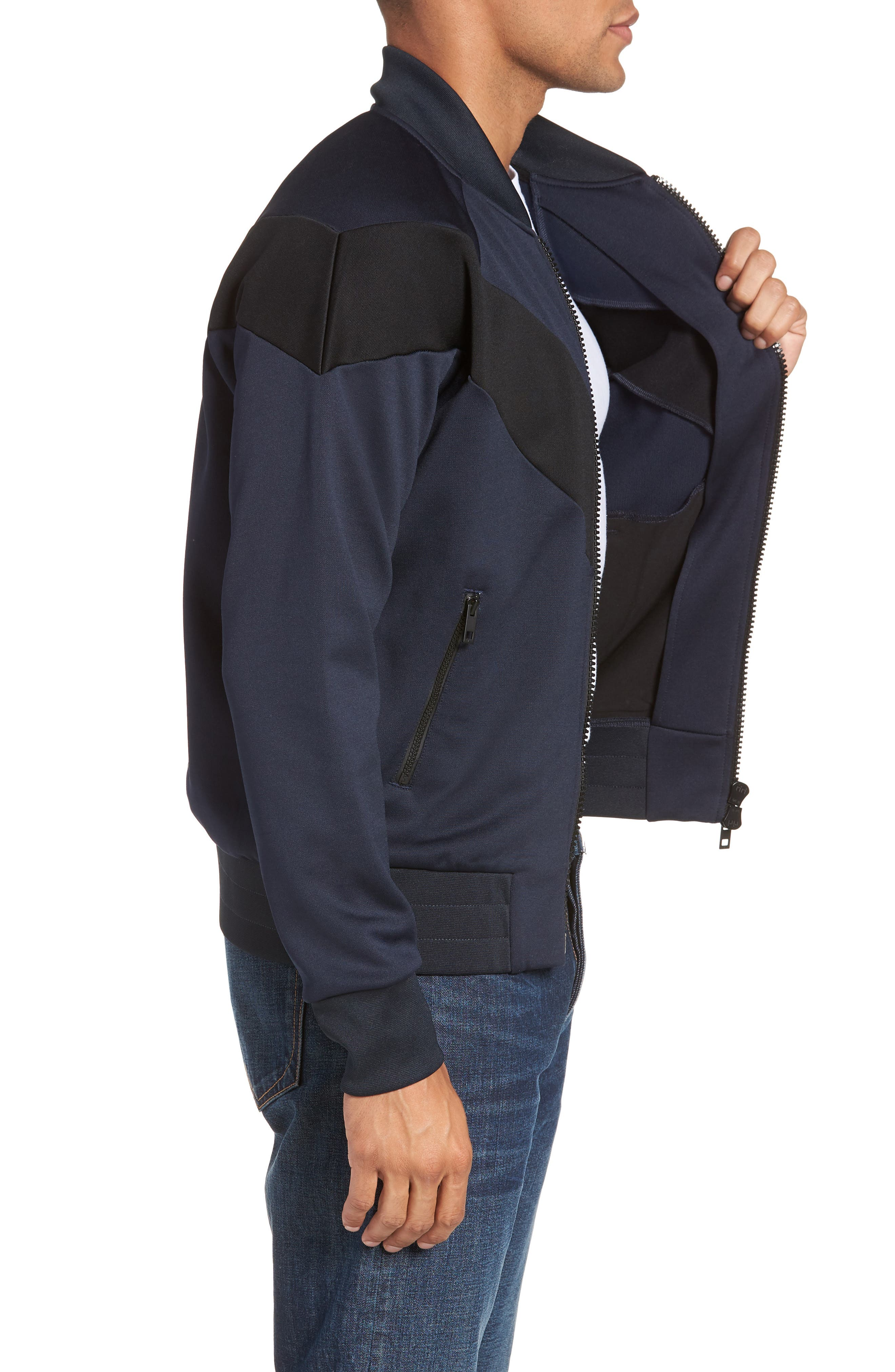 Colorblock Slim Fit Bomber Jacket,                             Alternate thumbnail 3, color,                             NAVY/ BLACK