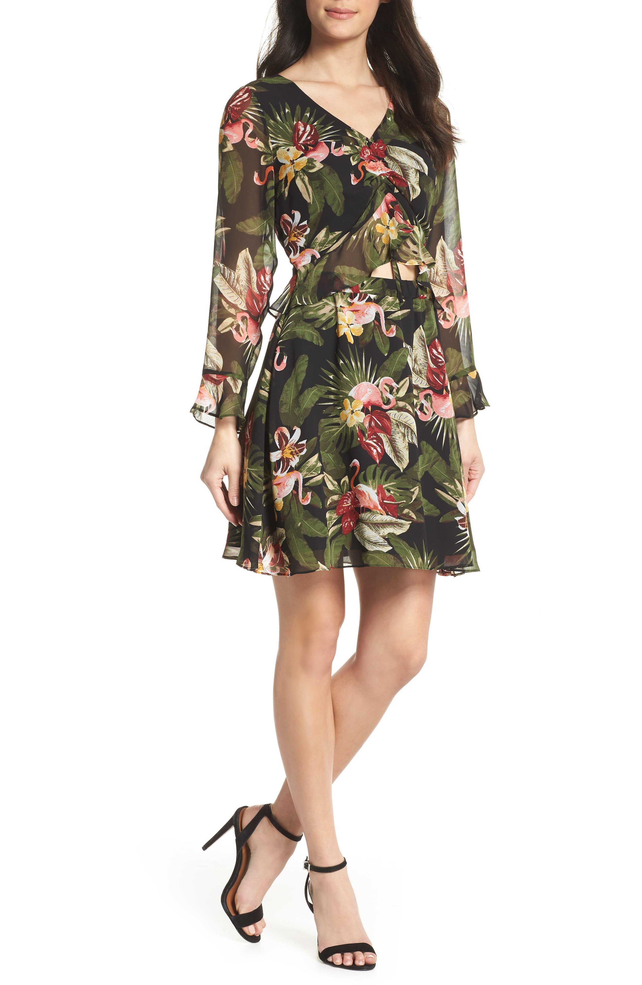 Waist Cutout Ruffle Dress,                             Main thumbnail 1, color,                             BLACK/ GREEN