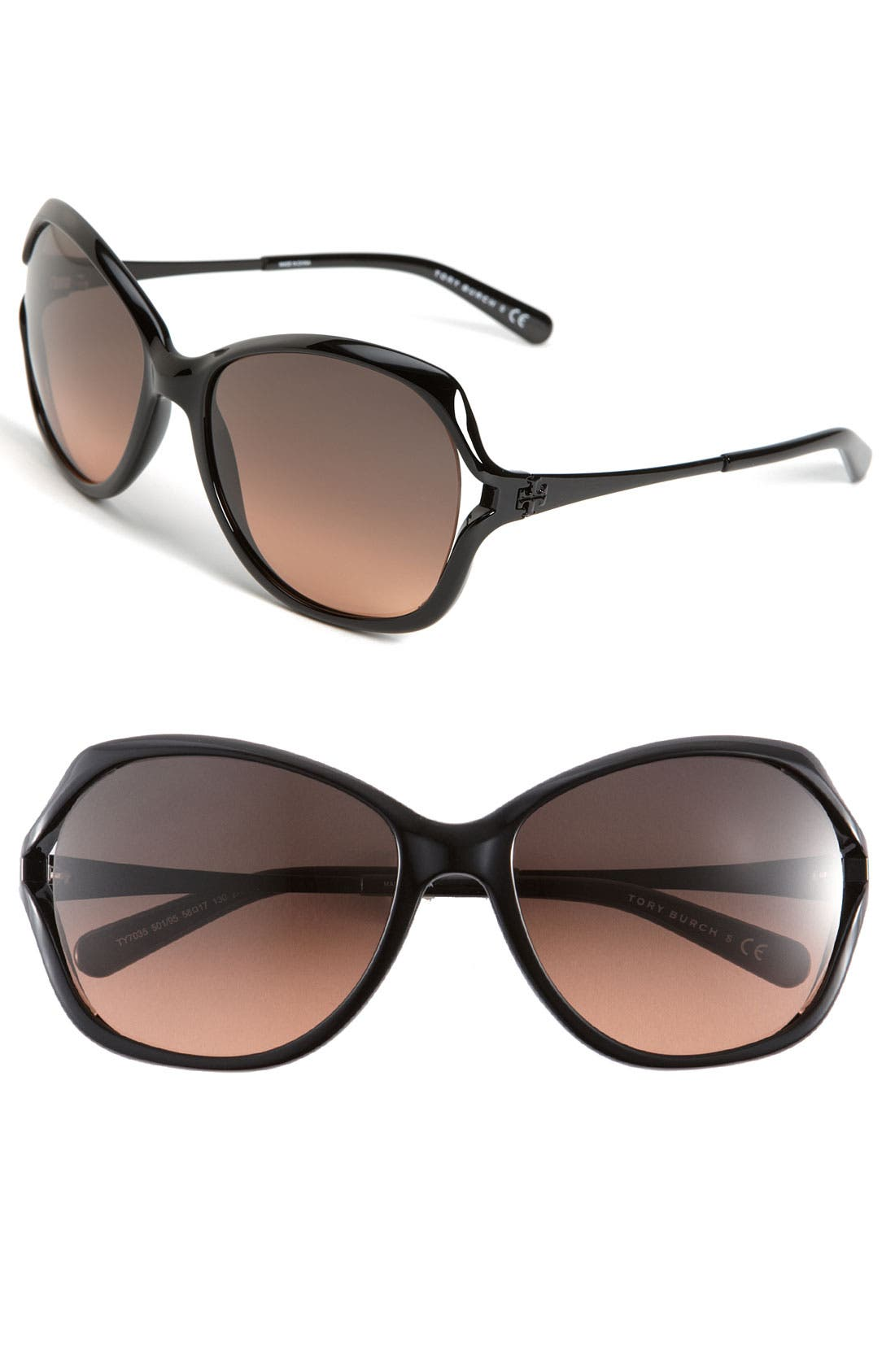 TORY BURCH,                             59mm Open Lens Butterfly Sunglasses,                             Main thumbnail 1, color,                             001