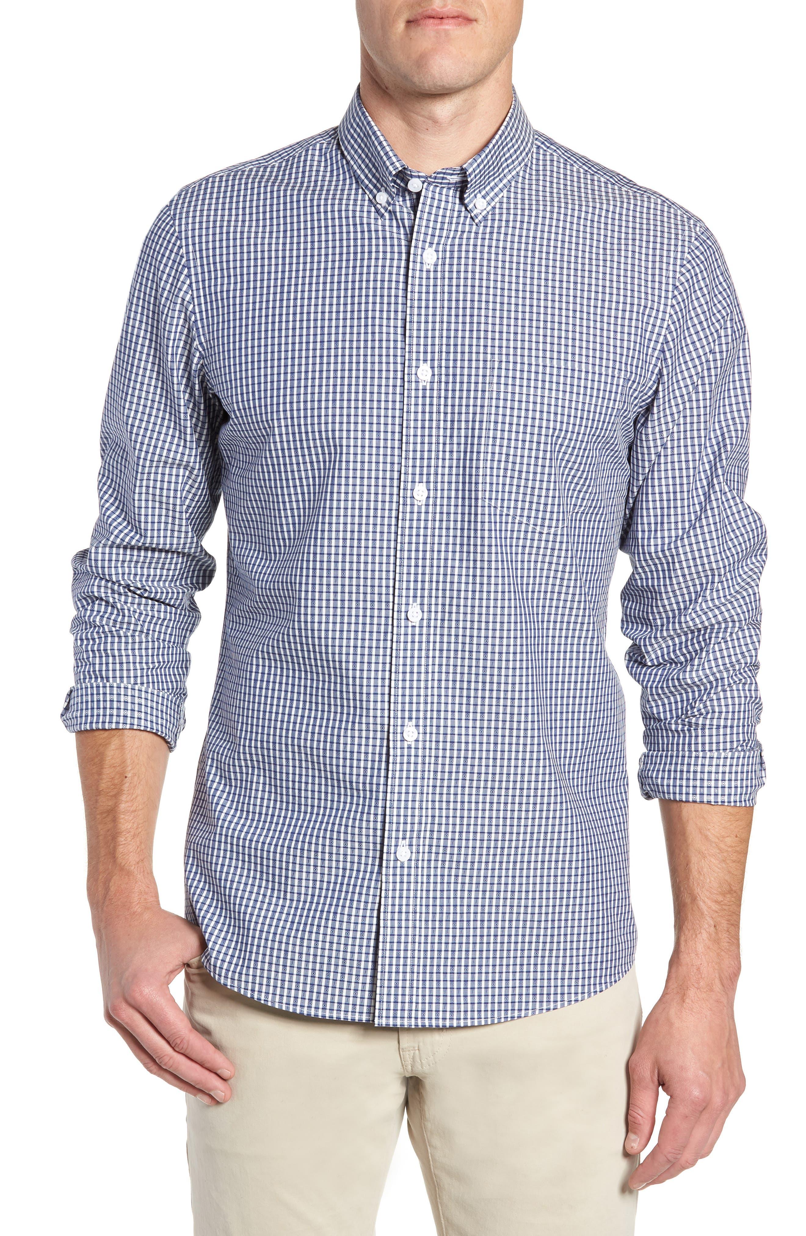 Nordstrom Shop Traditional Fit Jacquard Sport Shirt, Blue